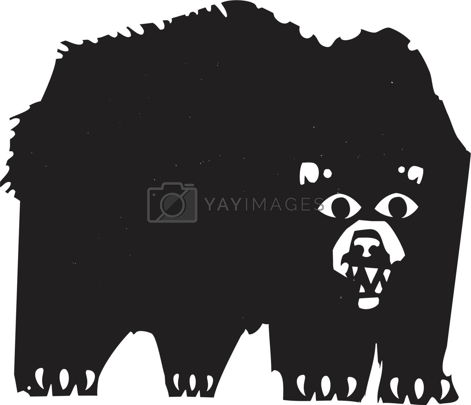 Woodcut style image of a a growling black bear.