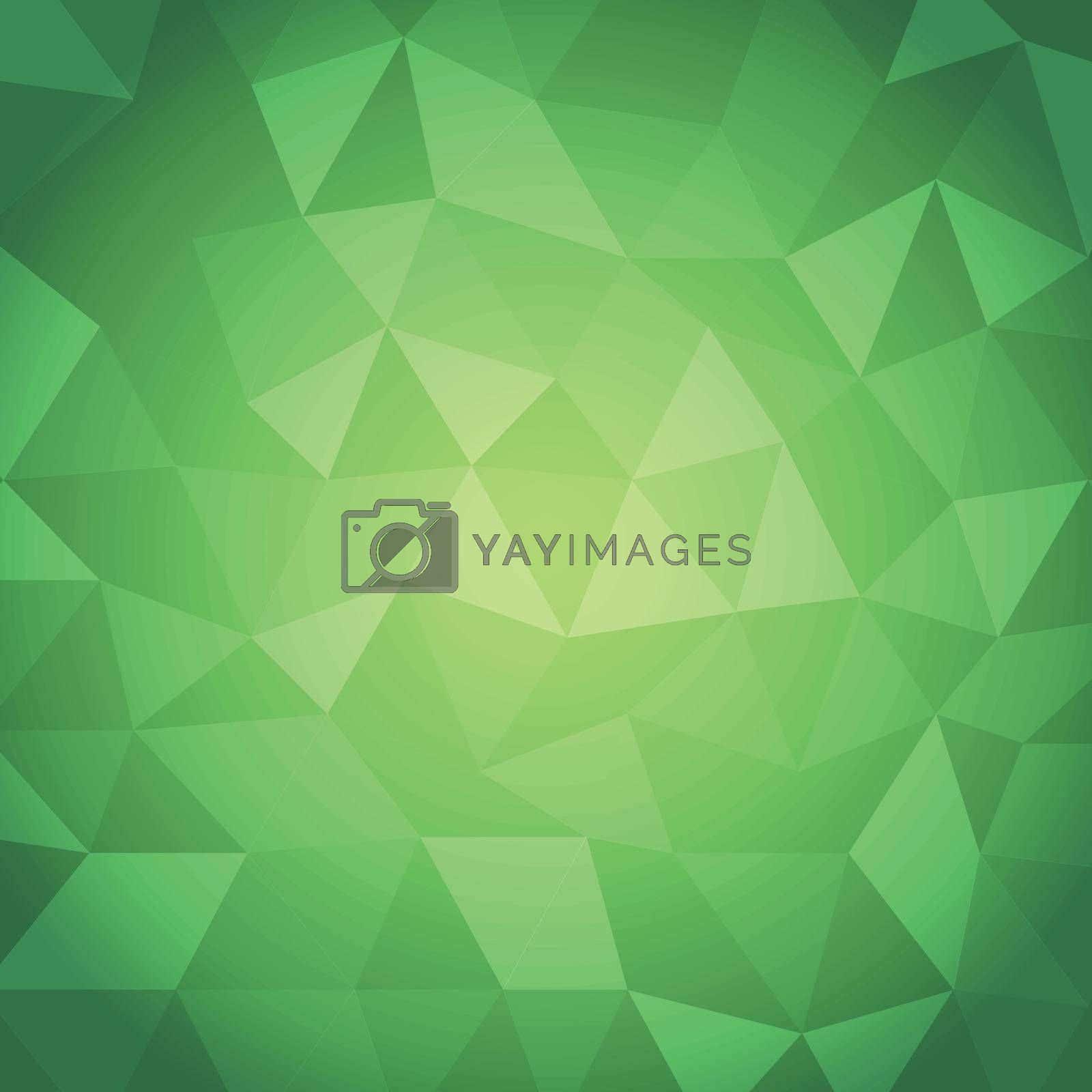 Abstract triangle with green background, stock vector