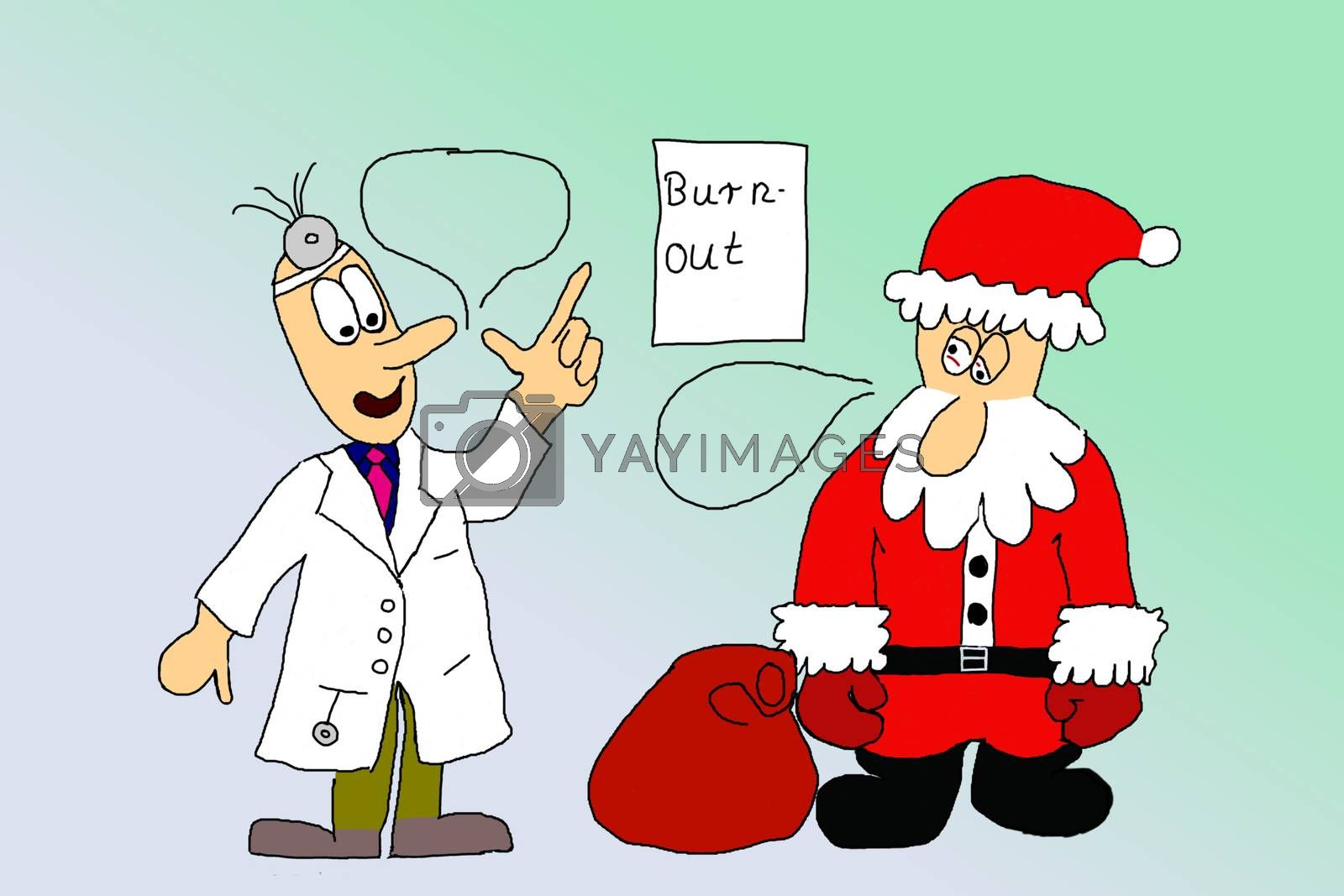 Royalty free image of Exhausted Santa Claus at doctors office by gwolters
