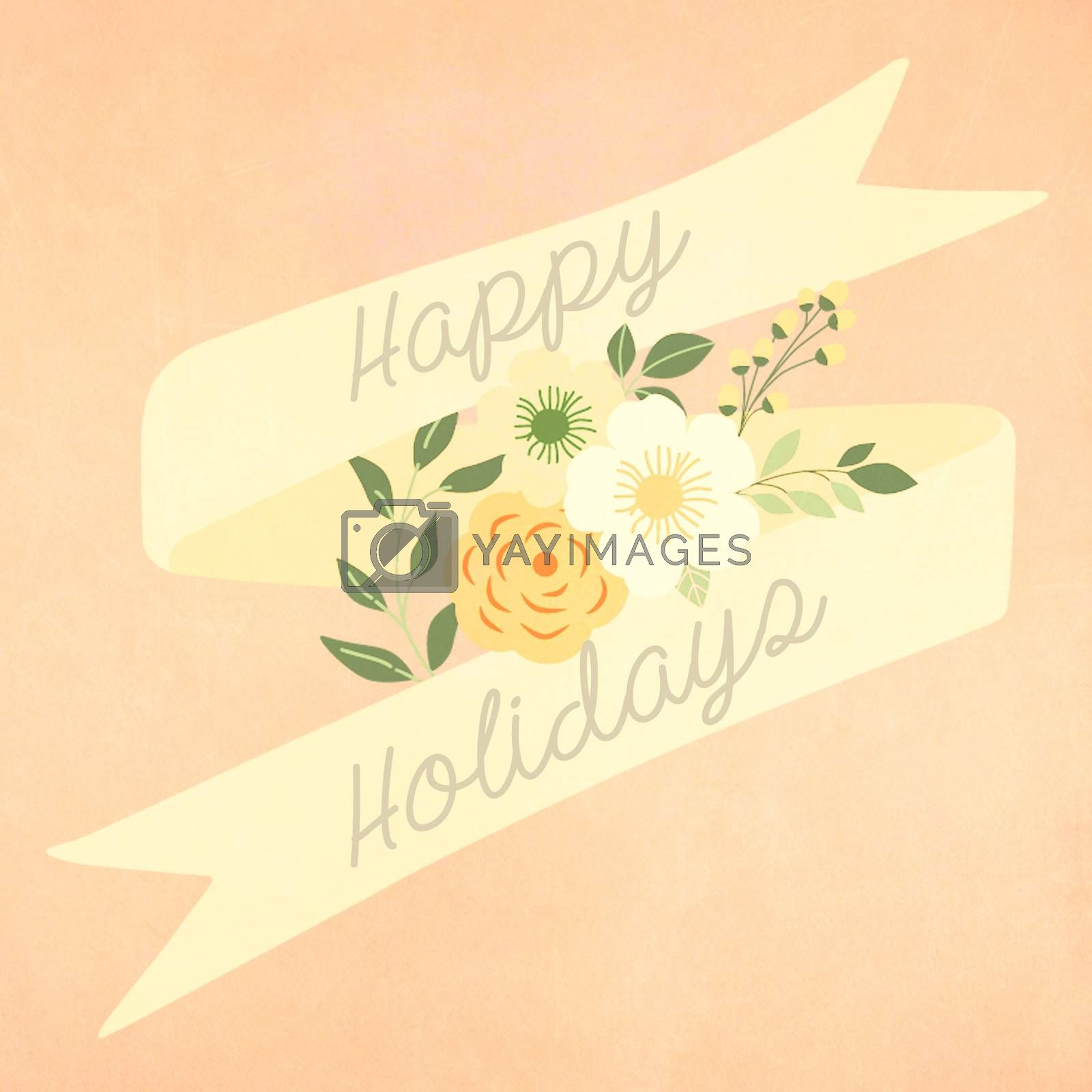 Happy holidays greeting card with retro vintage style