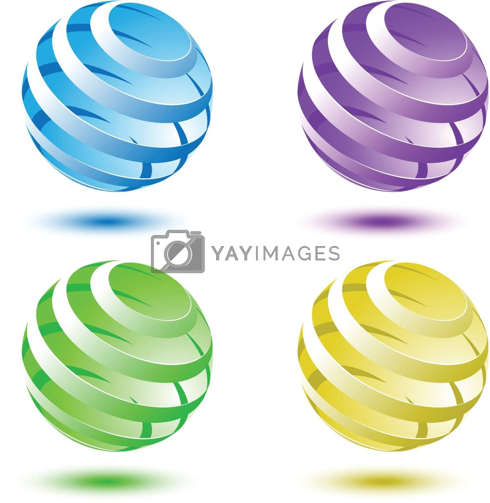 Abstract colorful 3D globe background, stock vector