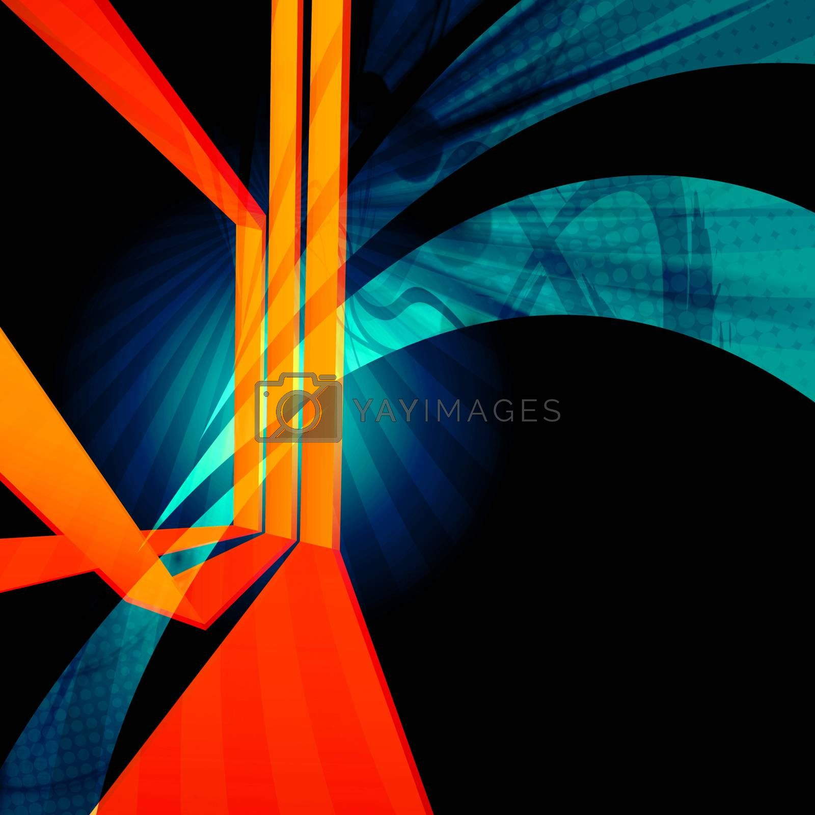 Funky abstract design with dimensional converging lines.
