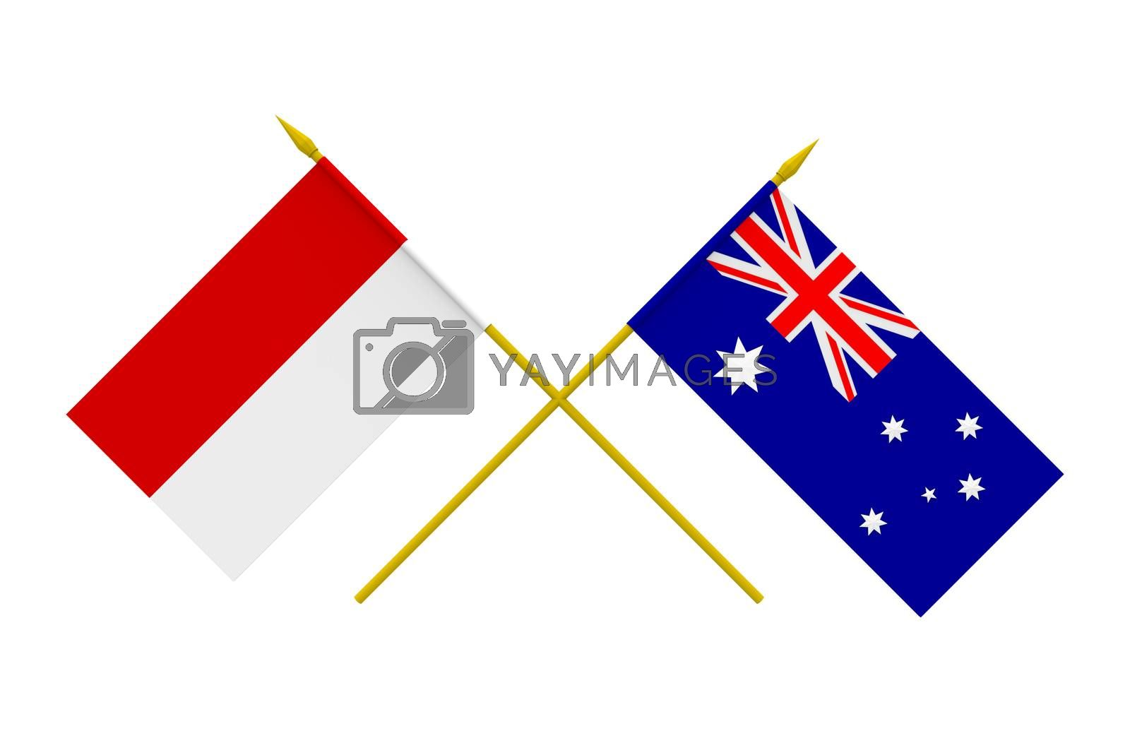 Flags of Australia and Indonesia, 3d render, isolated