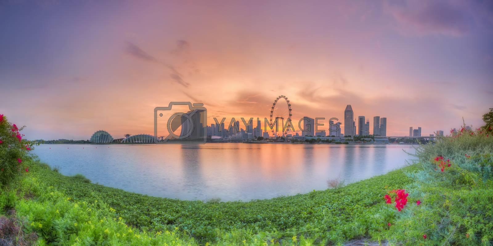 Panorama view of Singapore city skyline at sunset