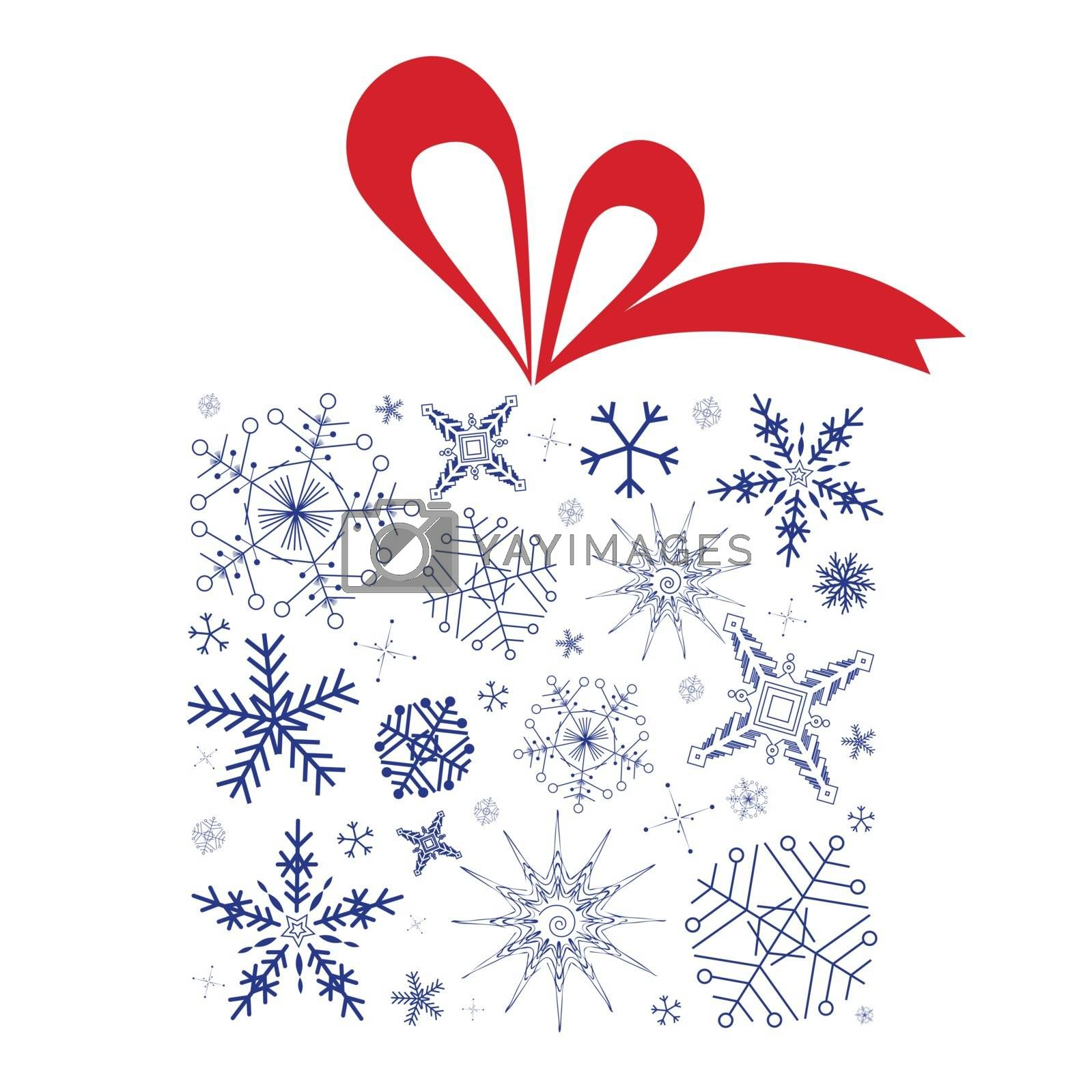 Vector illustration of Christmas gift box with red ribbon. Gift box is full of blue snowflakes and isolated on white background.
