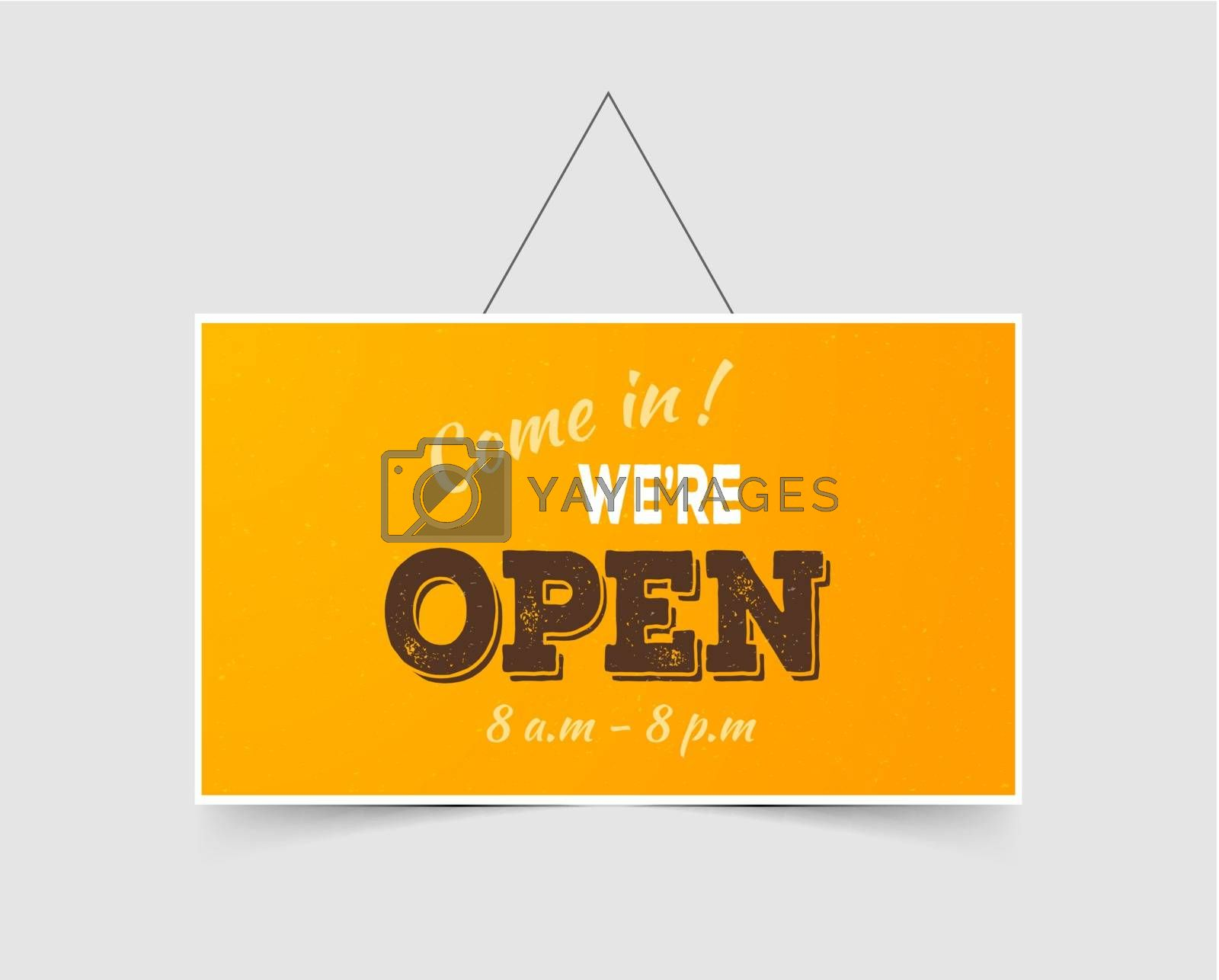 Vector illustration of Come in We're open