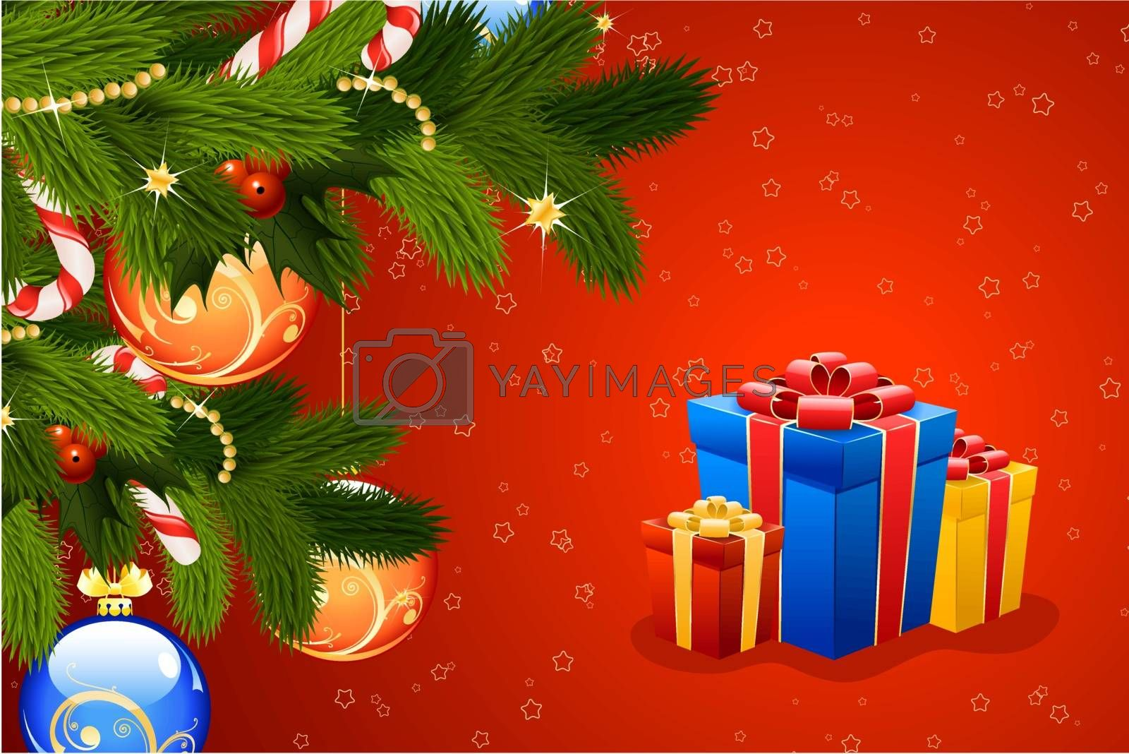Christmas Card with fir mistletoe decoration and gifts for your design