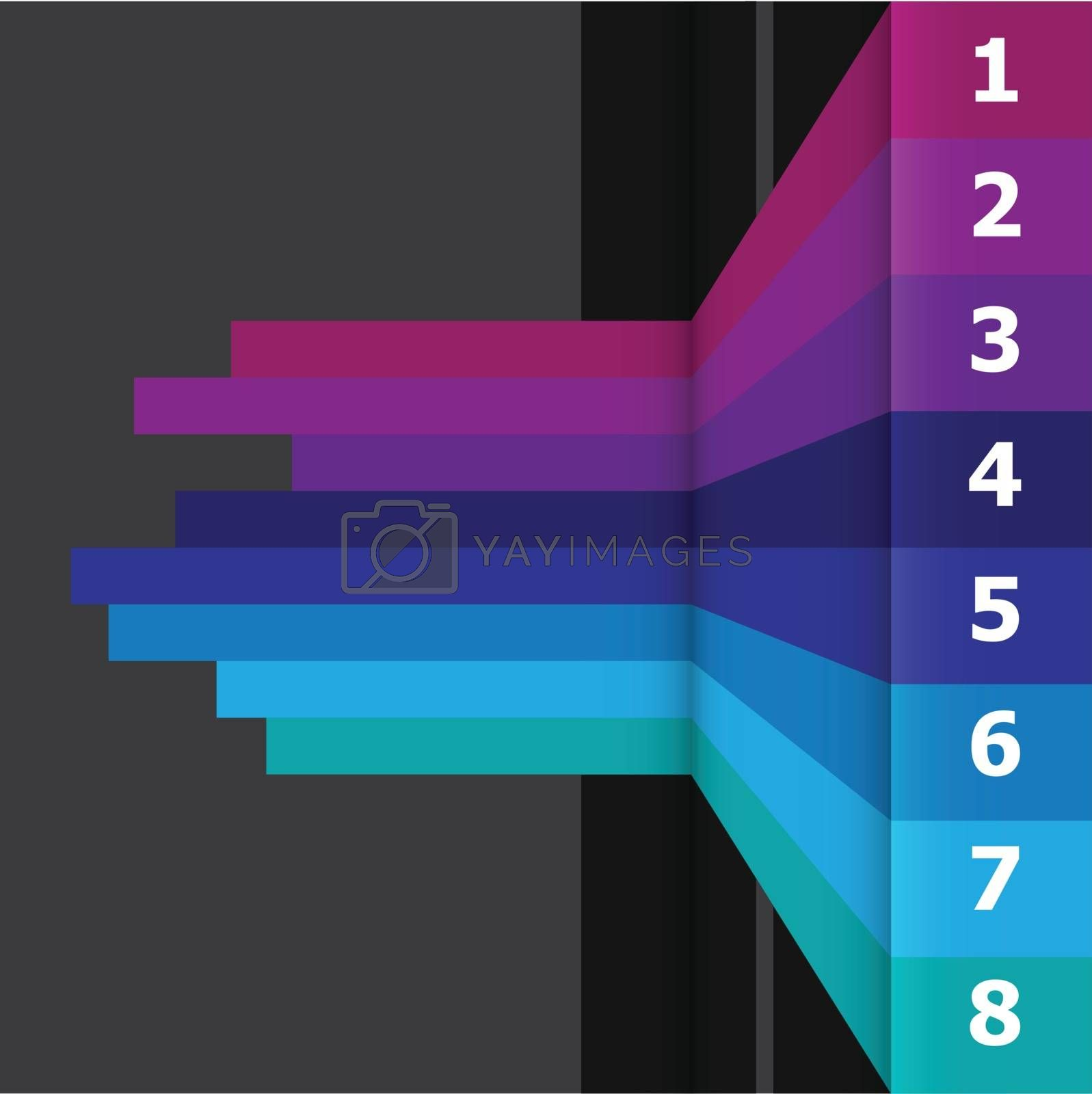 Horizontal banner with colorful lines on black background, stock vector