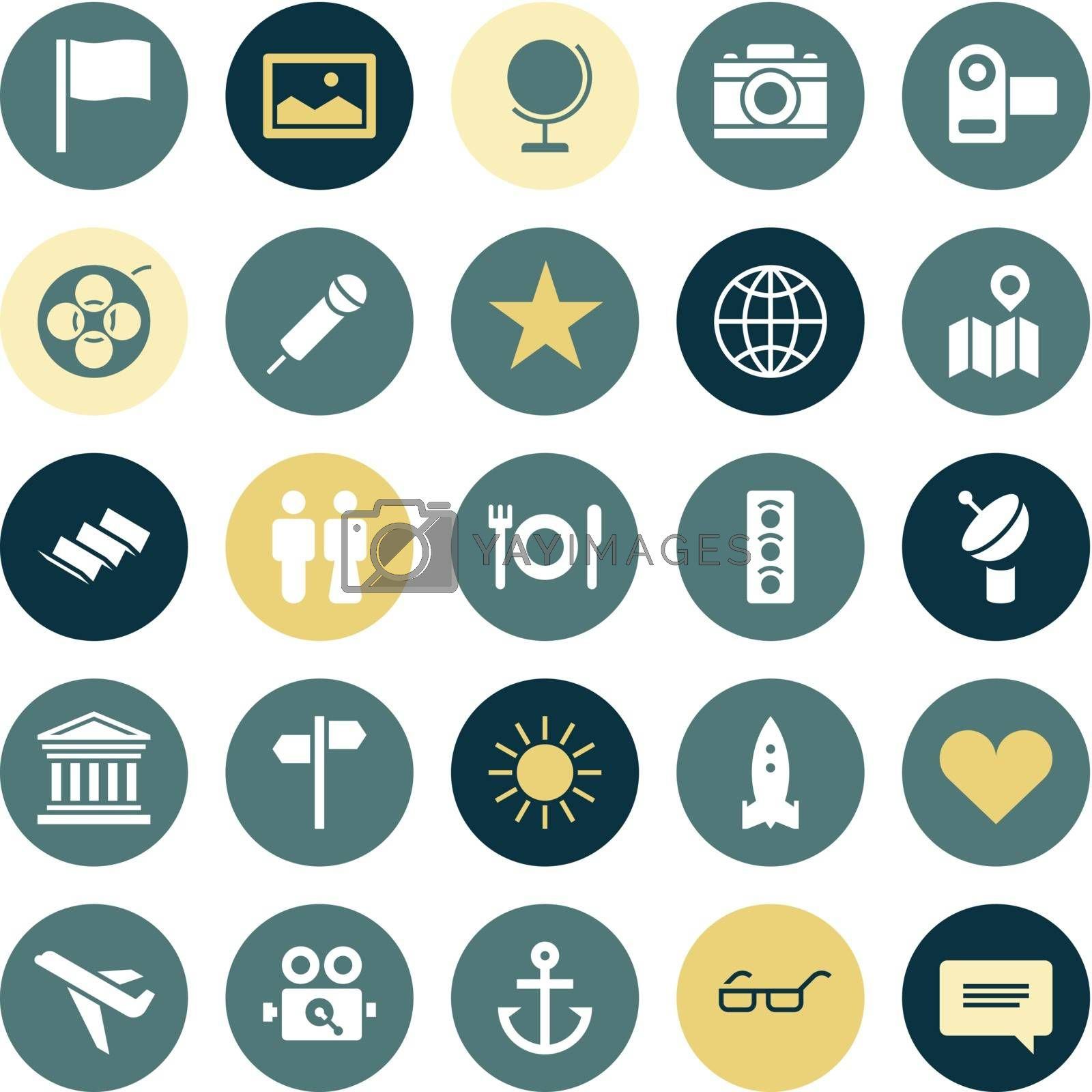 Flat design icons for travel and leisure. Vector illustration.