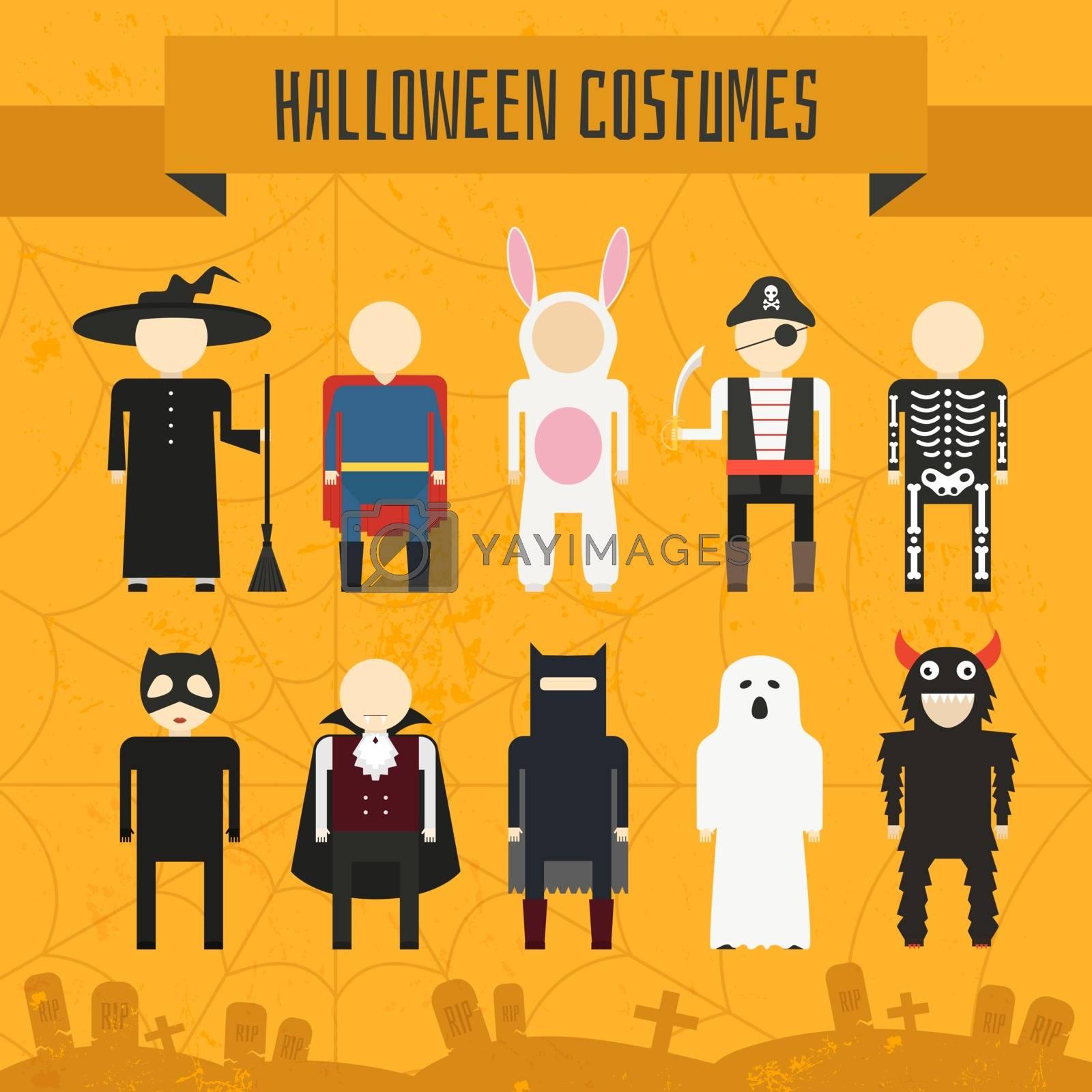 Illustration of popular halloween costumes, including vampire, rabbit, superhero, pirate, skeleton, monster, witch. Vector halloween illustration.