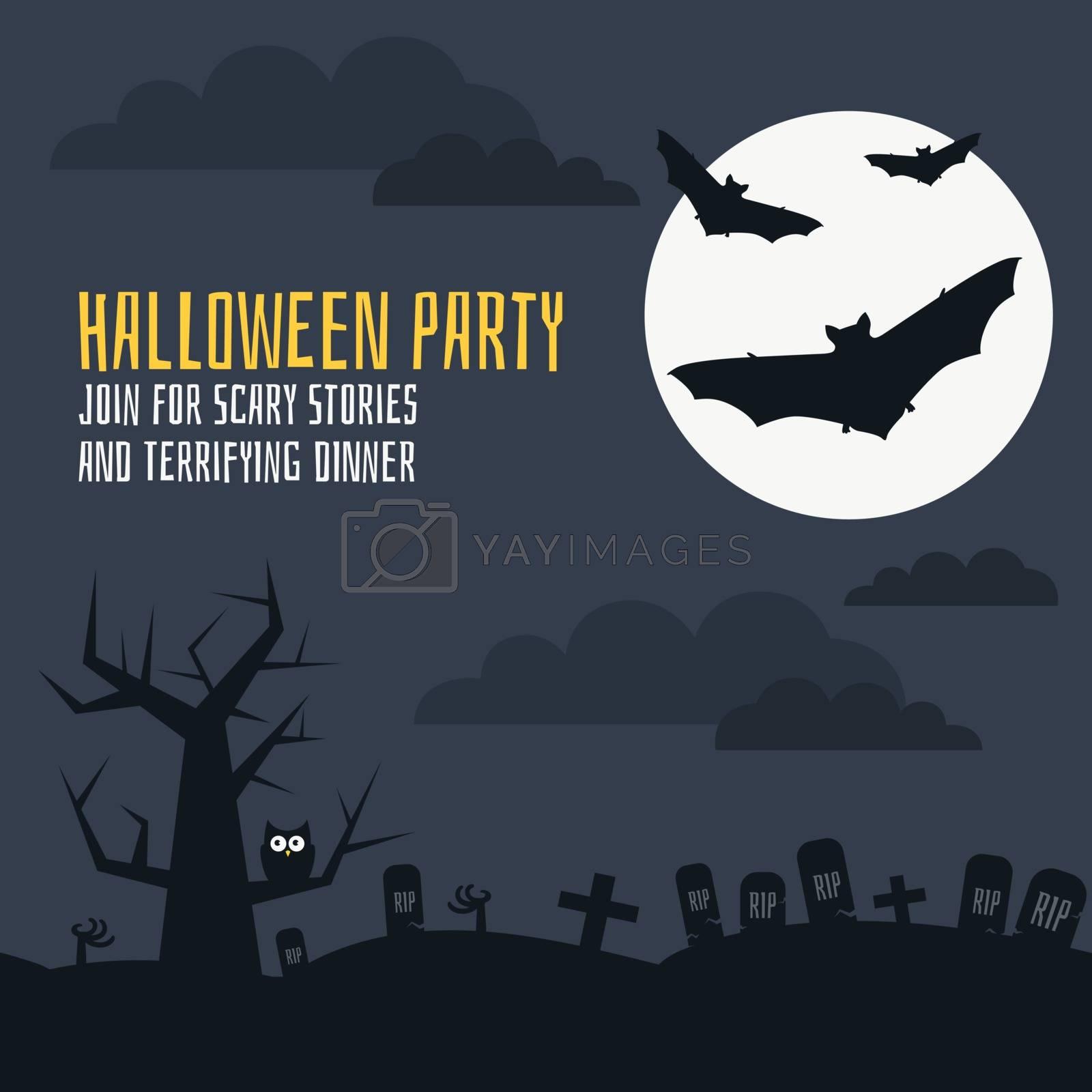 Halloween card template with bats, moon, cementry, owl. Flat vector scary halloween part invitation card.