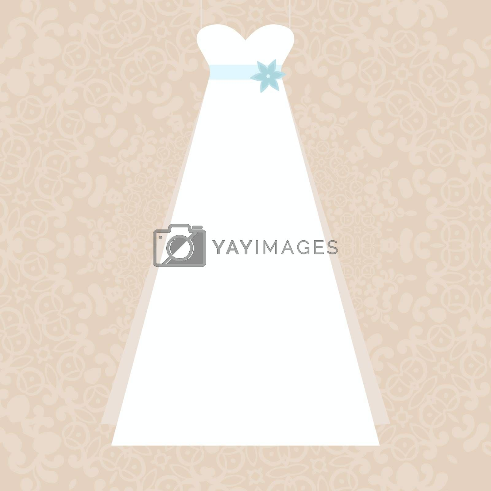 Elegant white dress illustration - symbol of a wedding on elegant lace background made in vector. Bridal illustration, Invitation template.