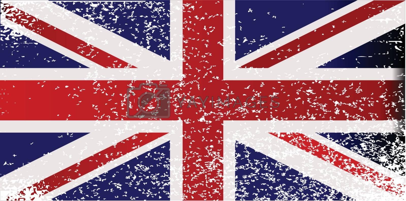 A silhouette of the United Kingdom set over a union flag.