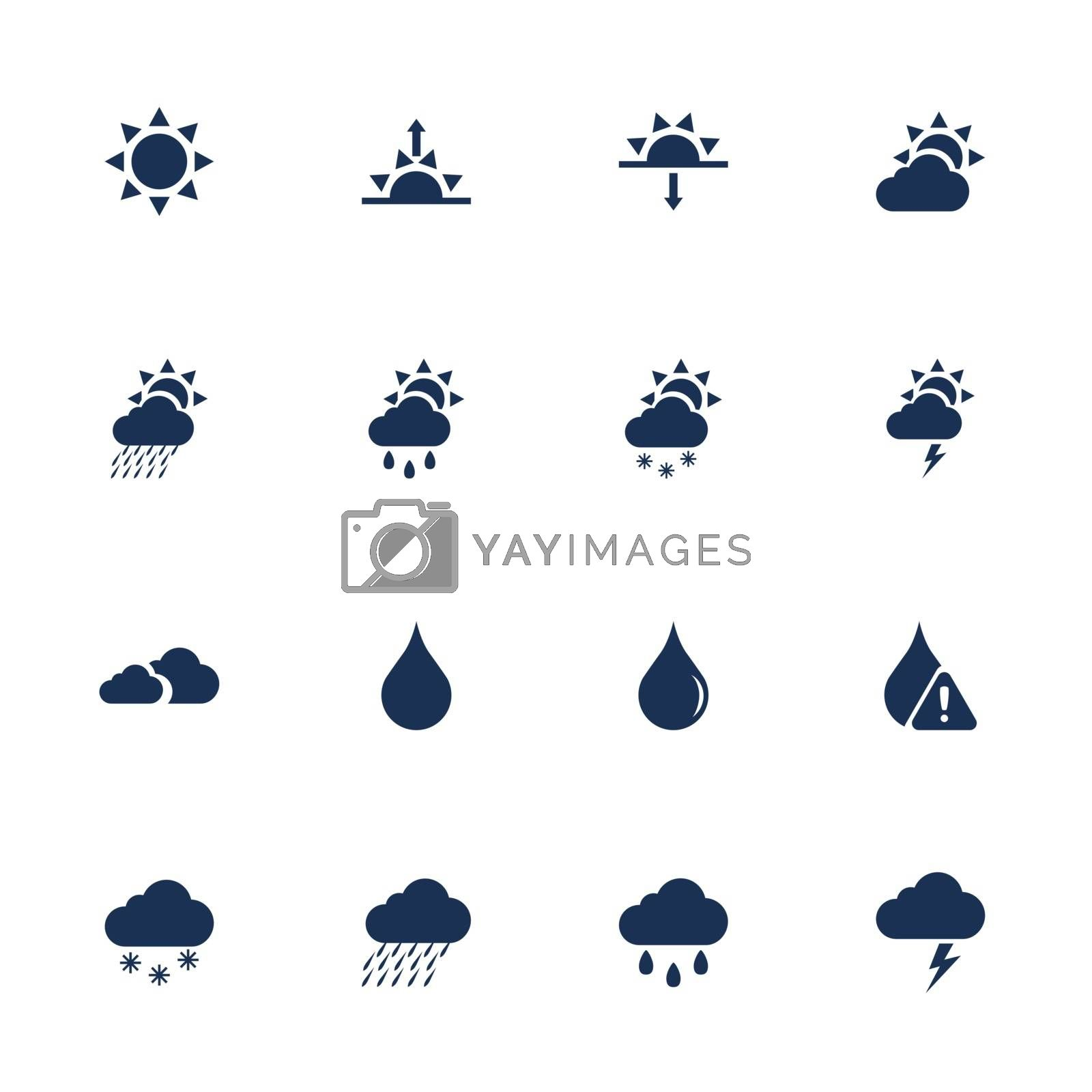 Set of weather icons in flat style