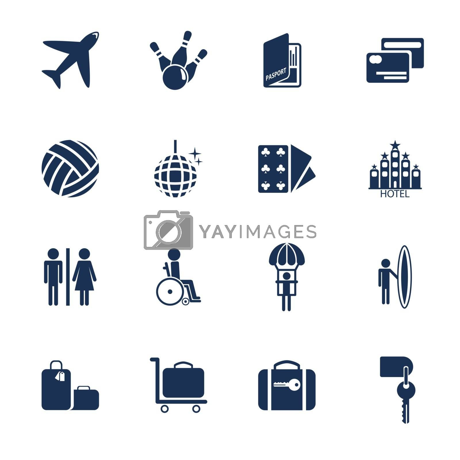 Set of icons for transportation, traveling and leisure in flat style