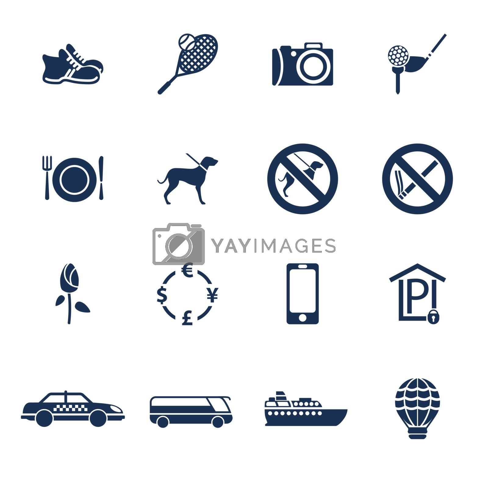 Set of icons for travelling, transportation and leisure in flat style