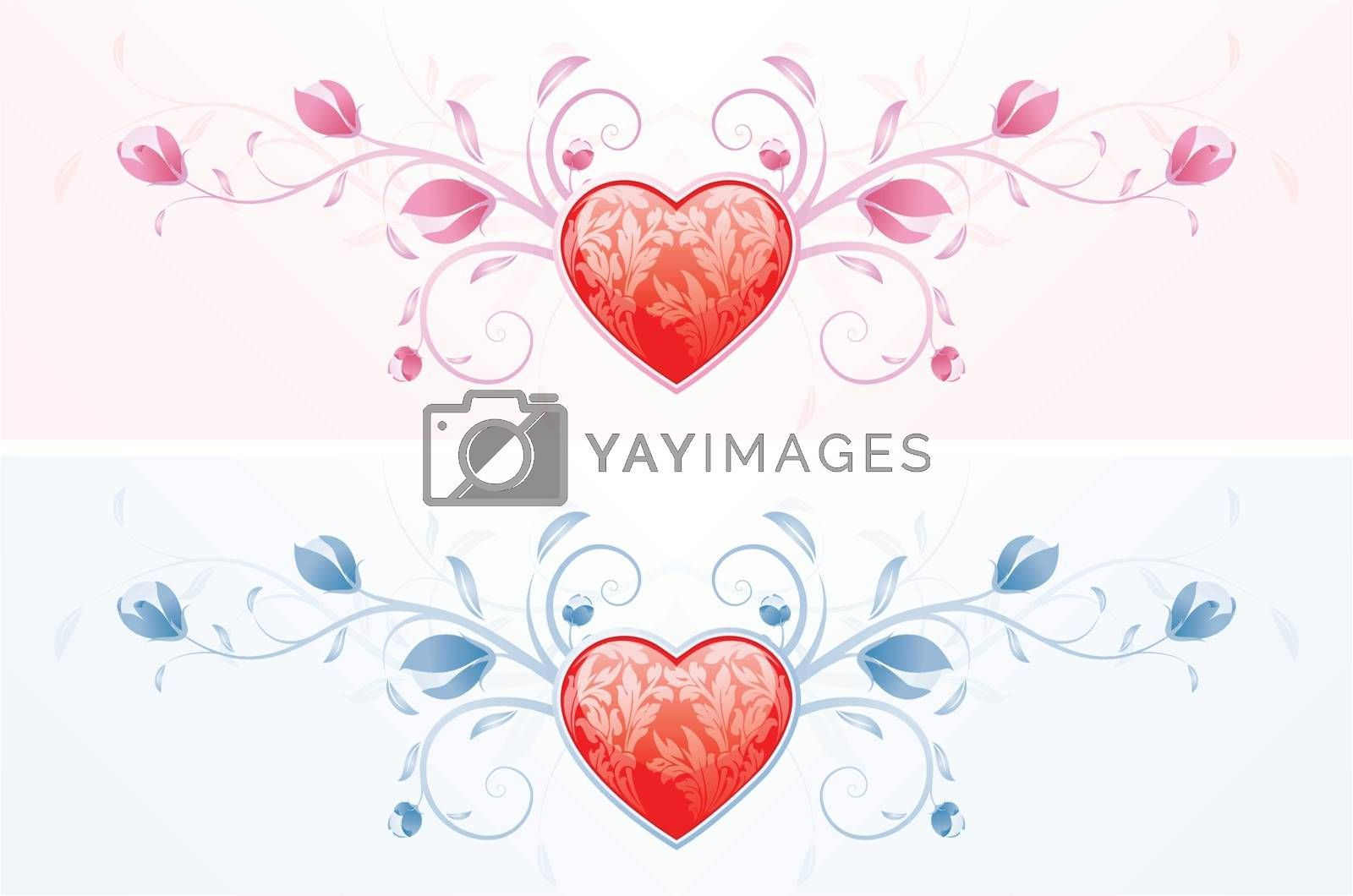 Floral Valentine's Day heart in two color for Your desing