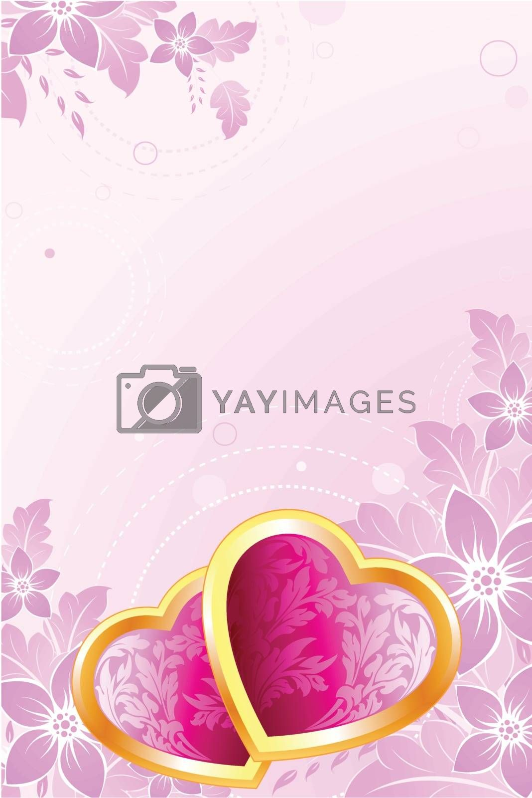 Valentine's Day Hearts with flowers on pink background