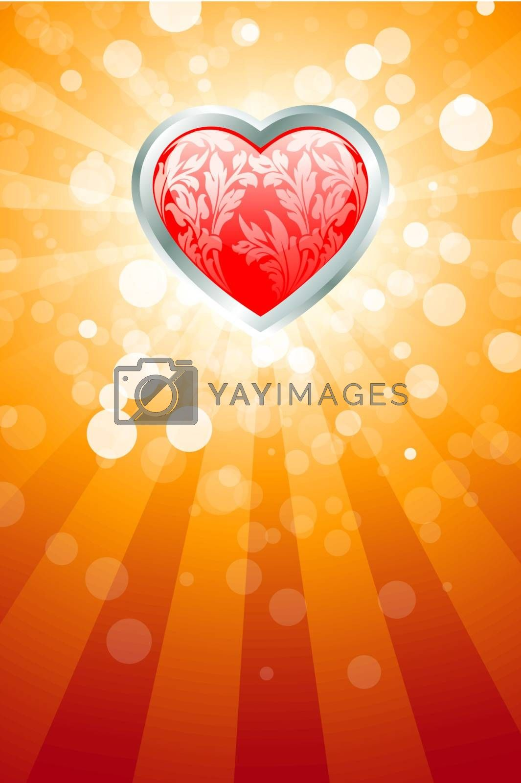 Abstract Valentines Day background with heart and rays