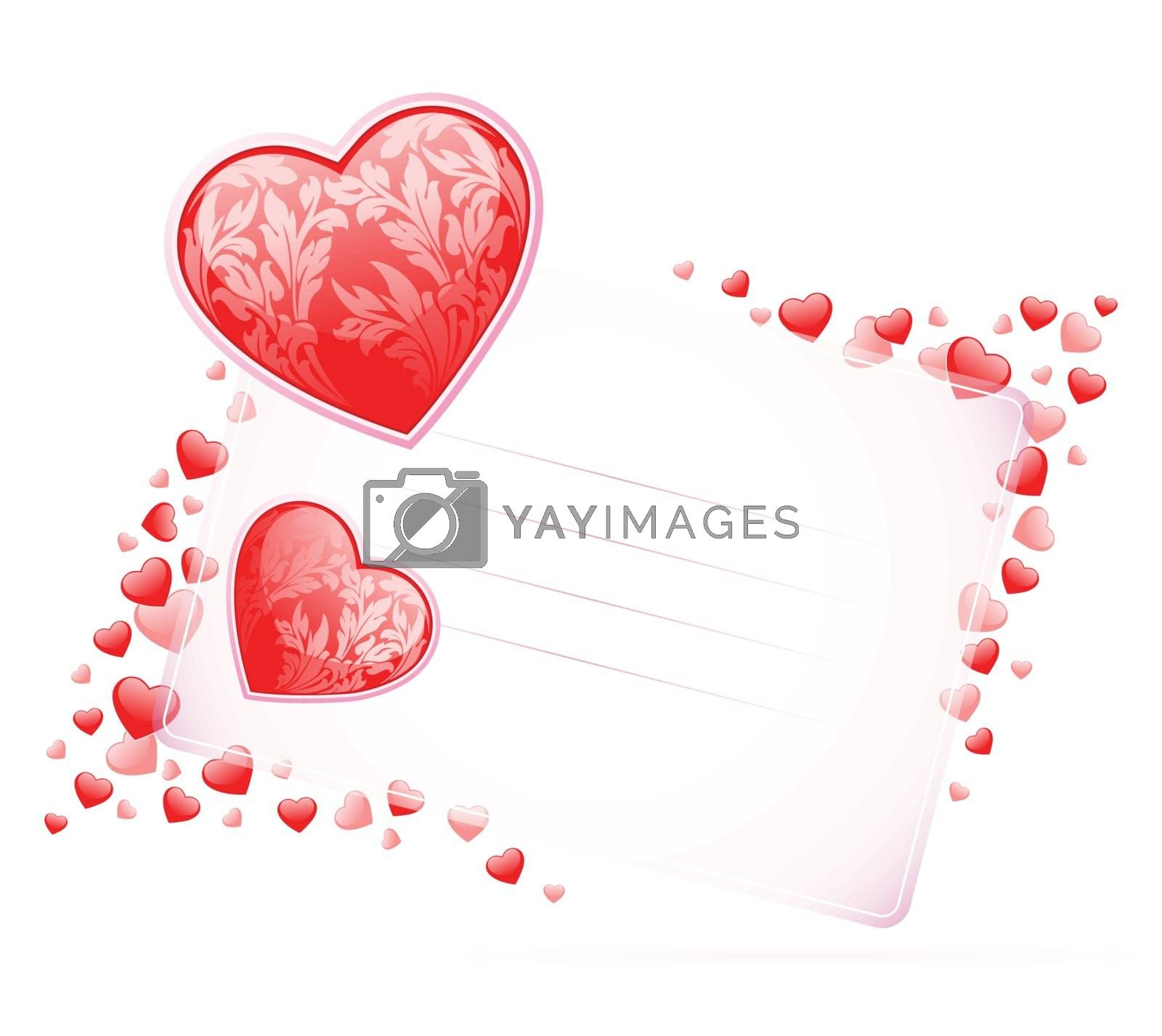 Valentines Day Card with hearts on white background