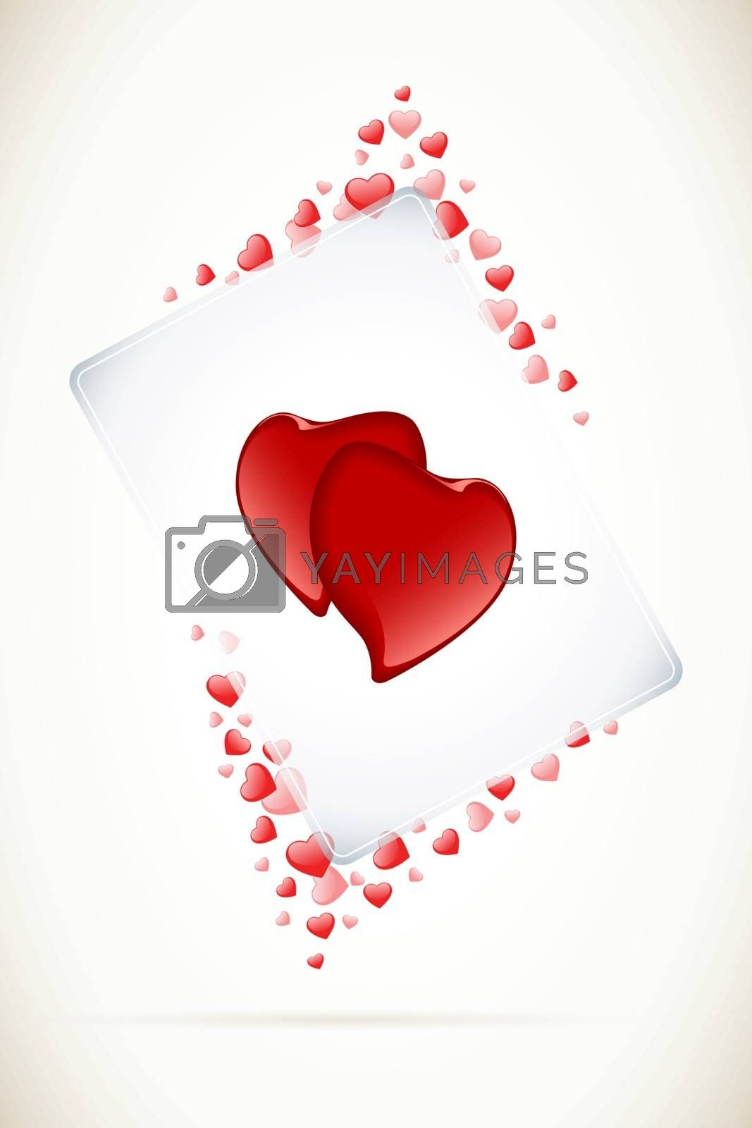 Abstract Valentines Day Card with hearts and transparency