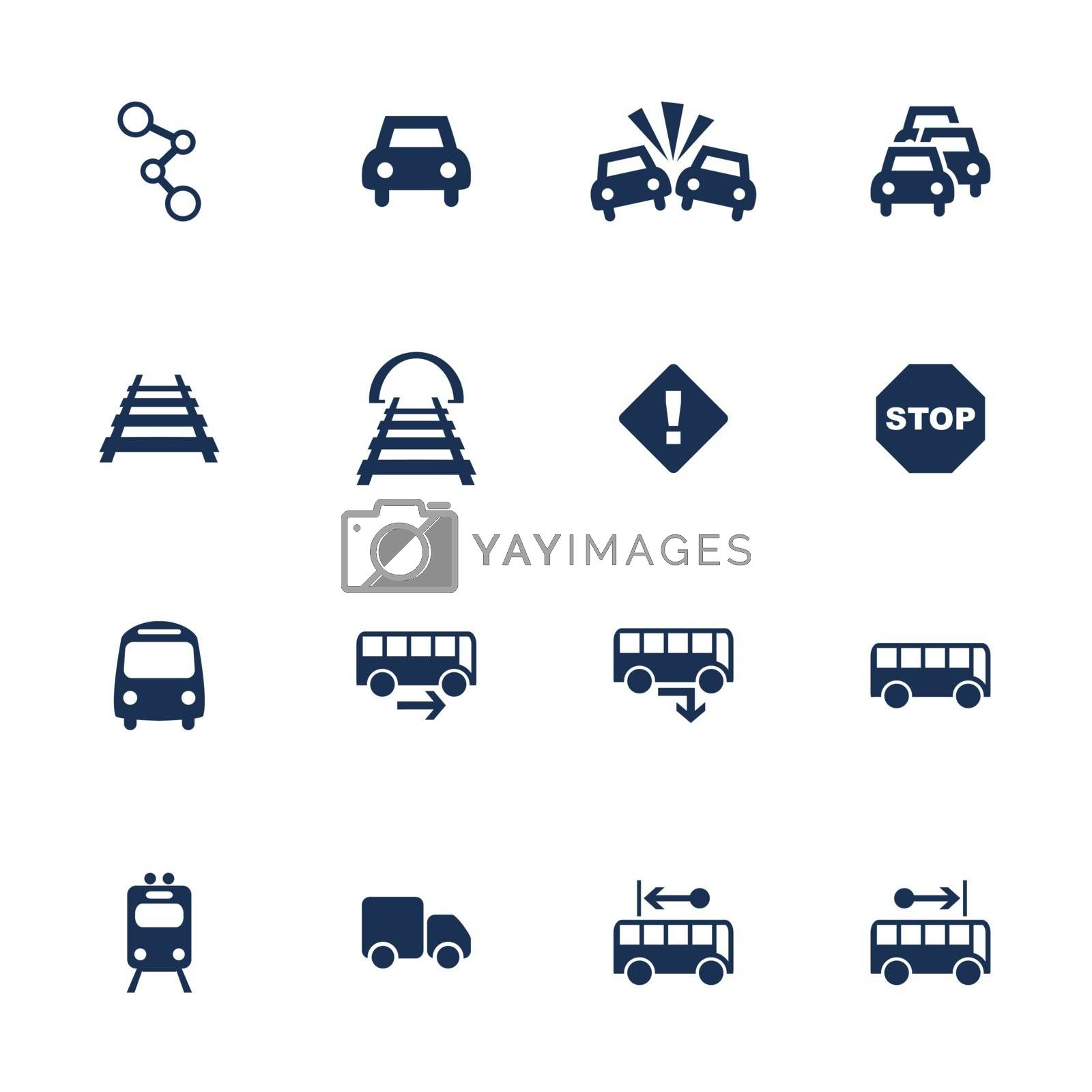 Set of icons for transport in flat style