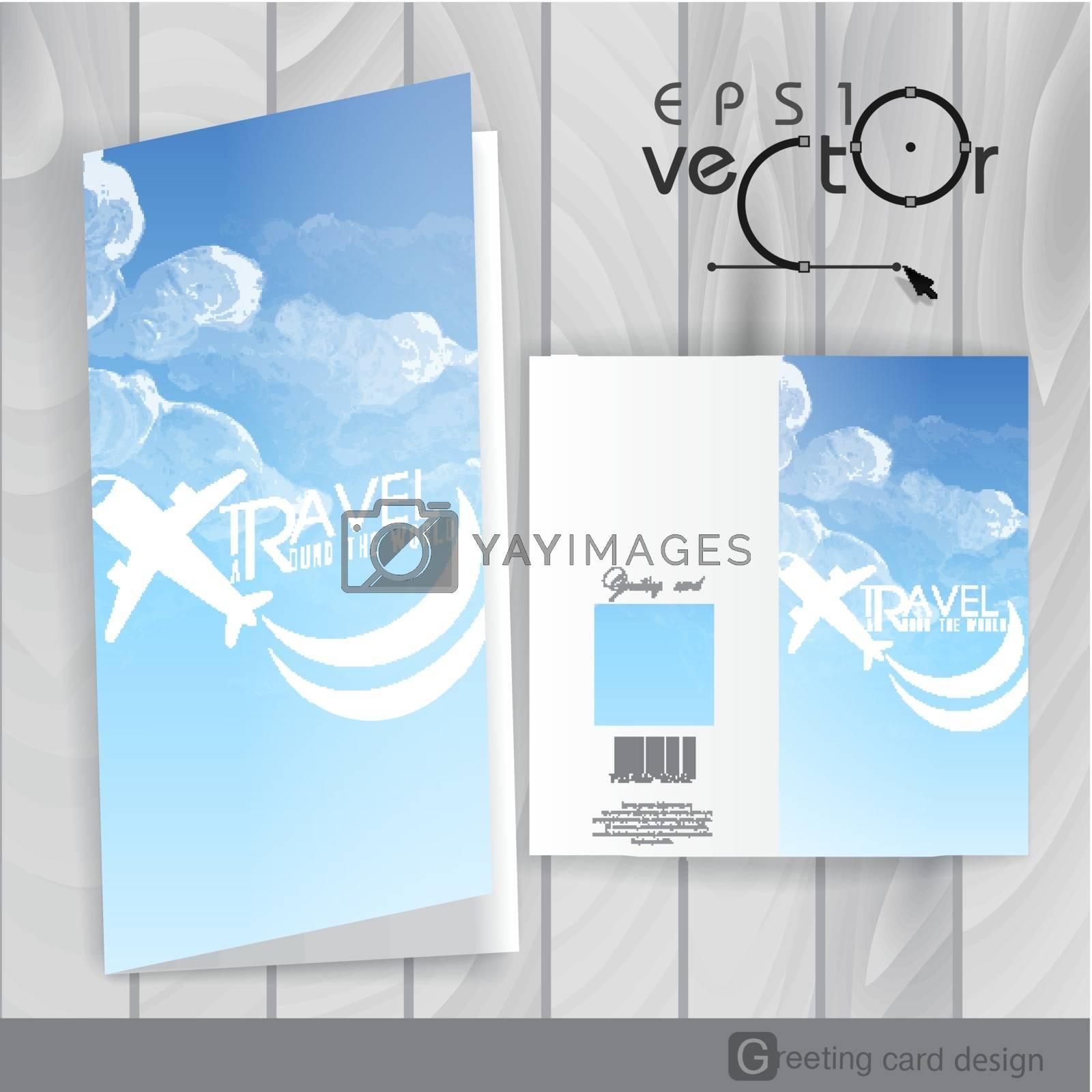 Greeting Card Design, Template. Vector Illustration. Eps 10