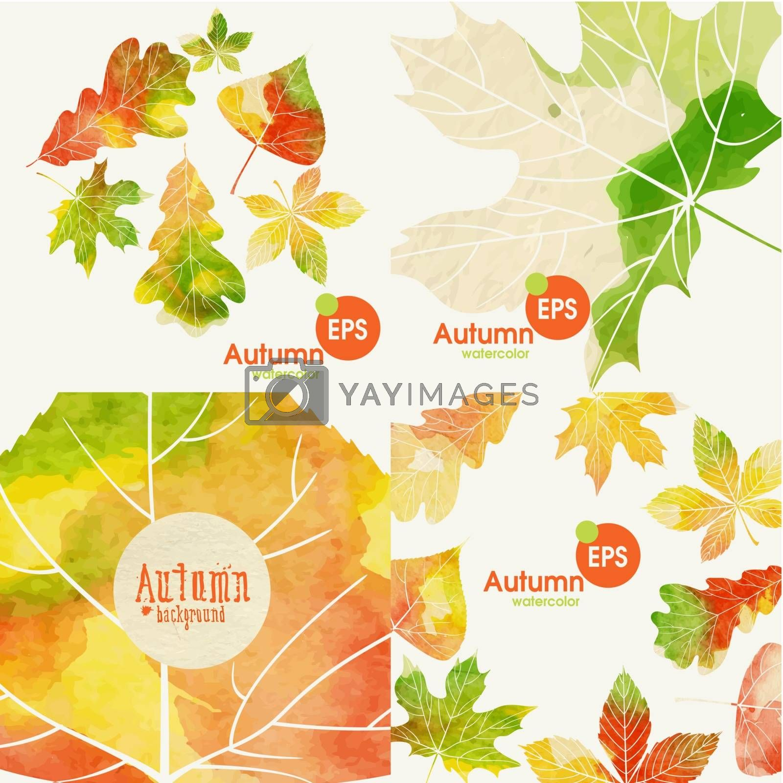 Autumnal Background Set. Vector Illustration. Eps 10