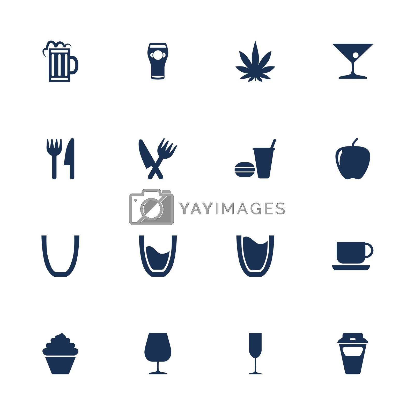 Set of icons for food and drink in flat style