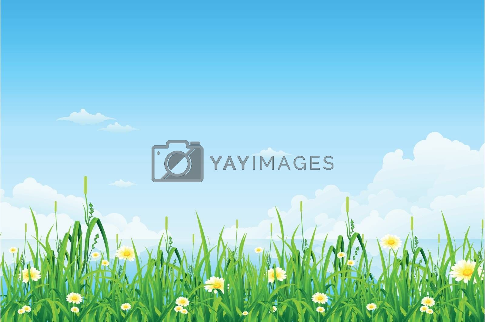 Green background with grass lake clouds and flowers