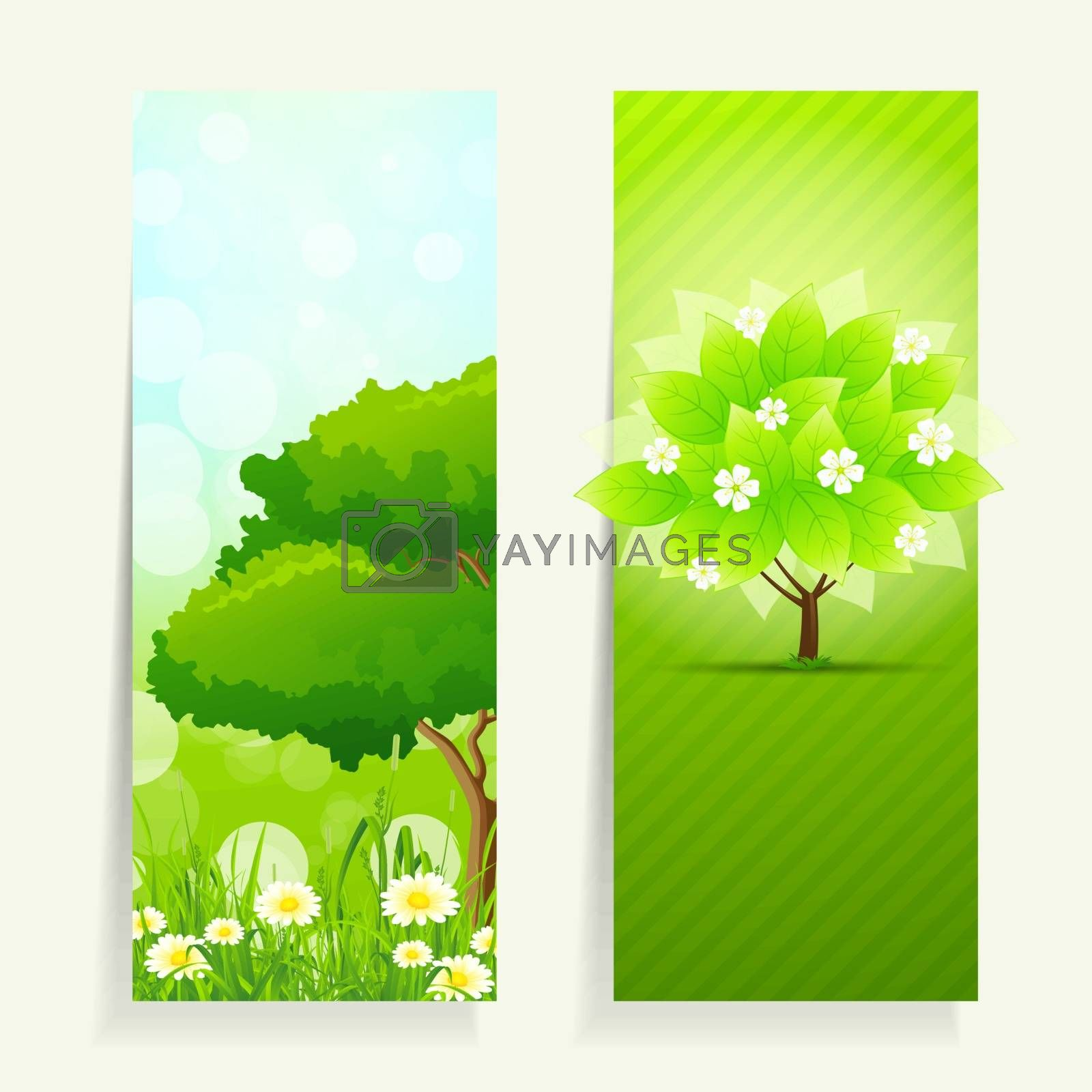 Two Vertical Nature banners with trees, grass and flowers