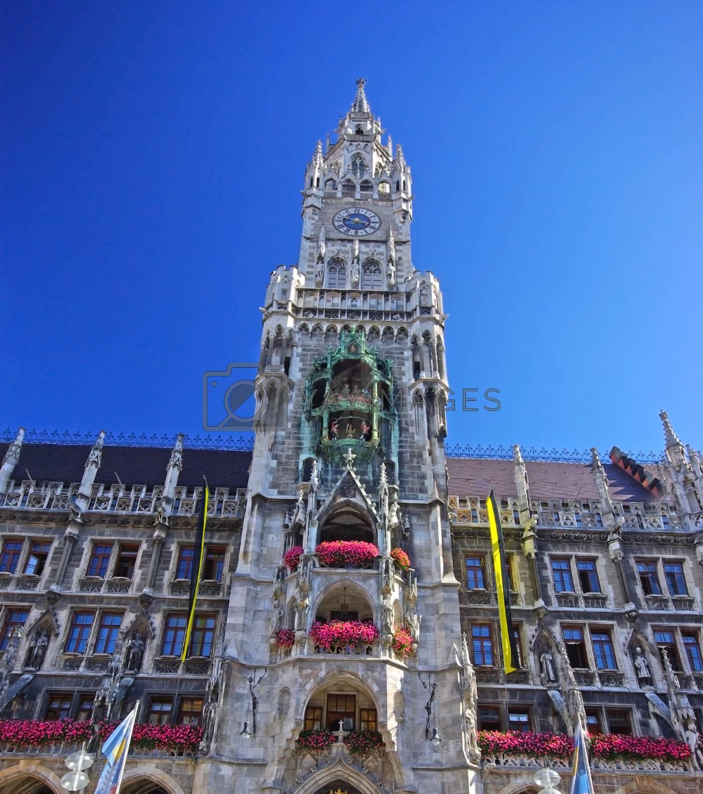 Beautiful tower of town hall in Munich, Germany (Marienplatz).