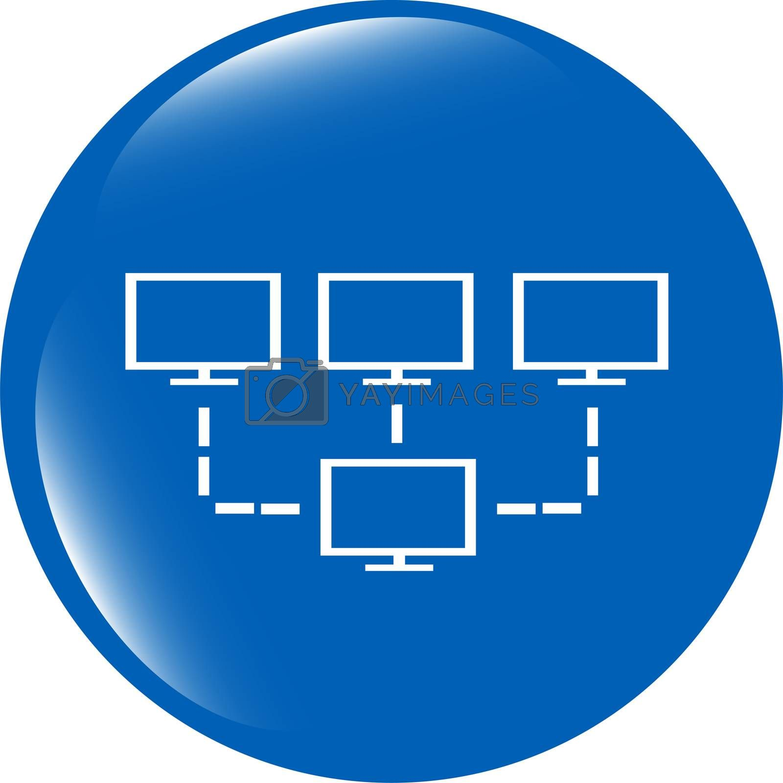 laptop or computer net sign web button icon isolated on white