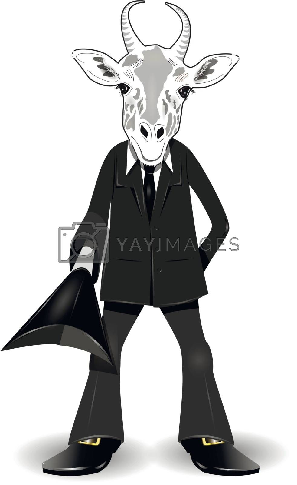 abstract illustration of a goat in a suit