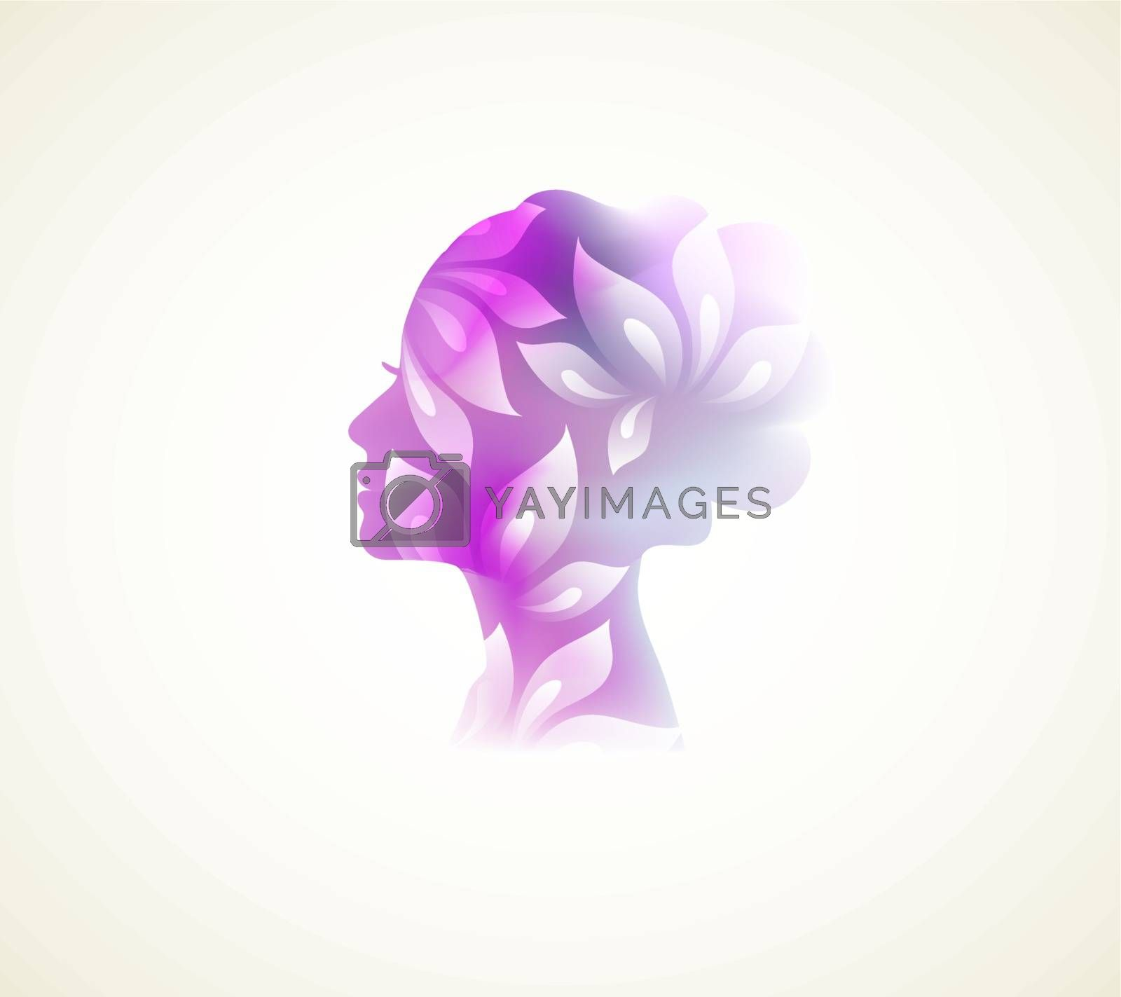 Vector illustration of Prifile woman with flowers