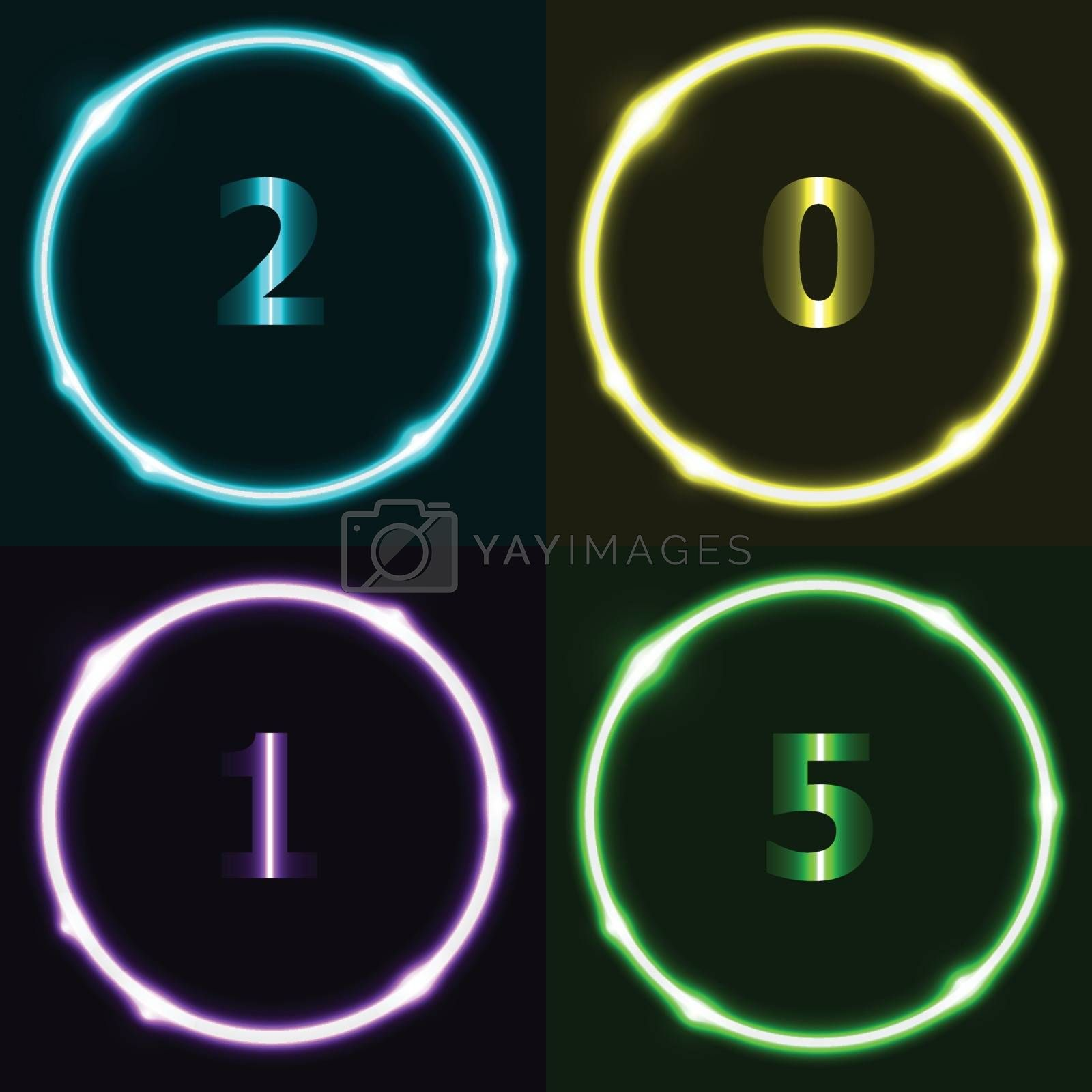 Colorful circle effect with 2015, stock vector