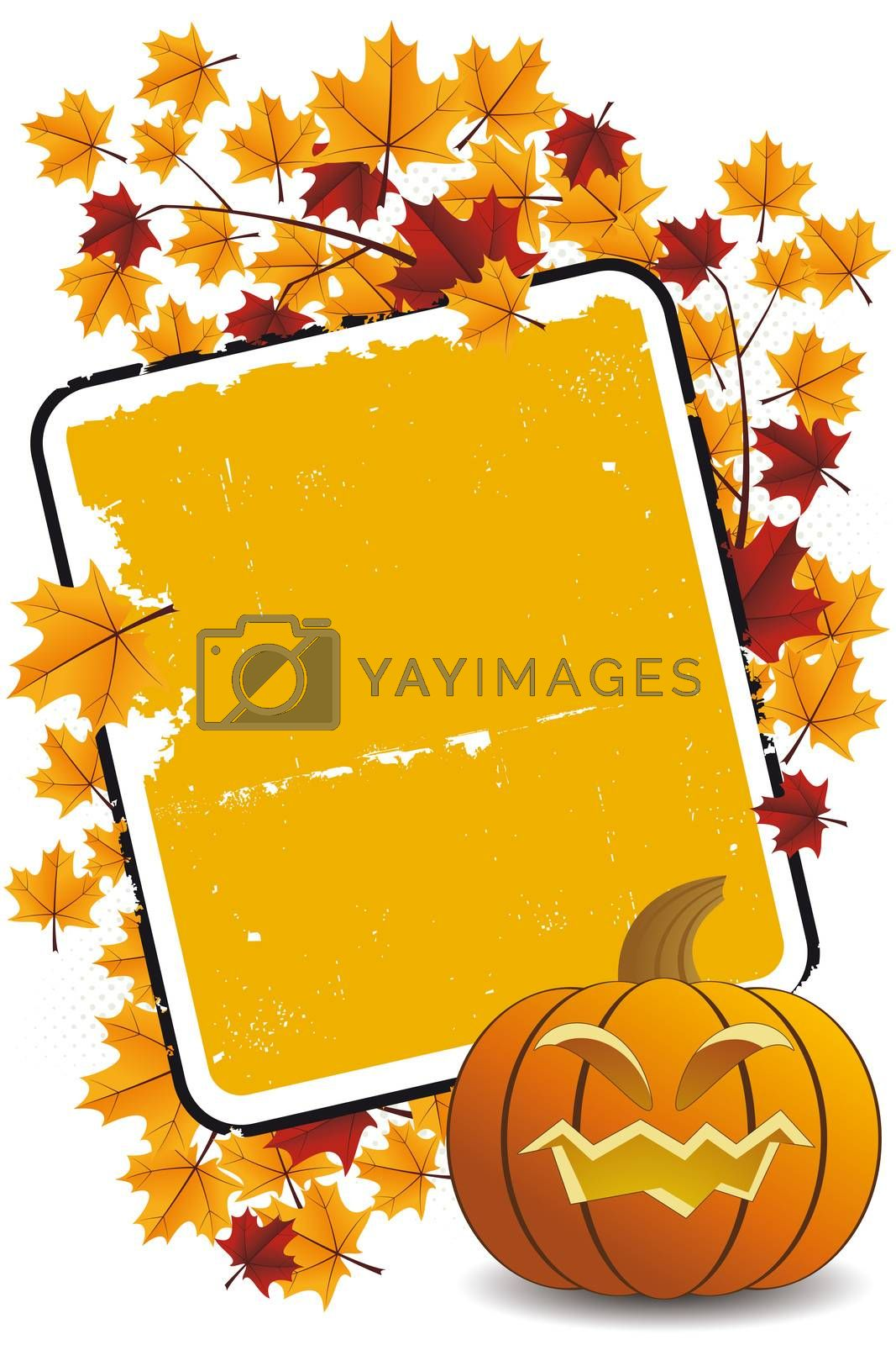 Halloween pumpkin with leafsand frame holiday background illustration