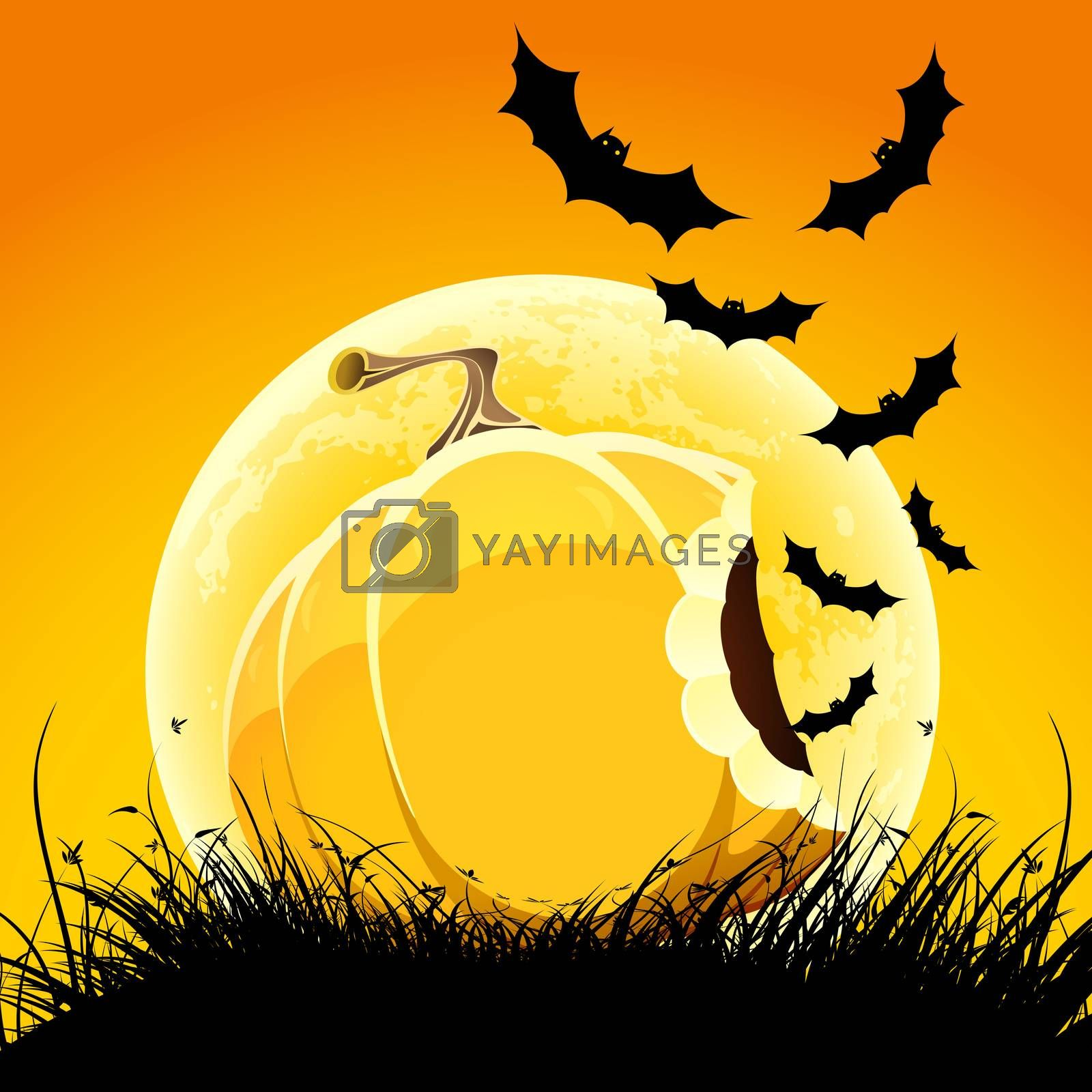 Halloween night background with pumpkin bat grass and moon