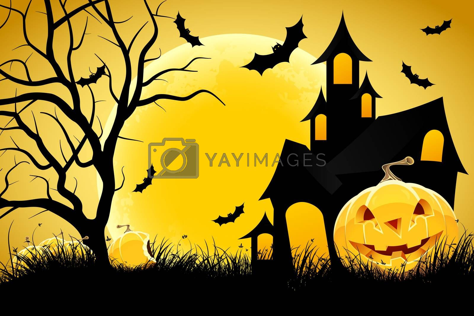 Halloween background with pumpkin in grass  house tree and moon