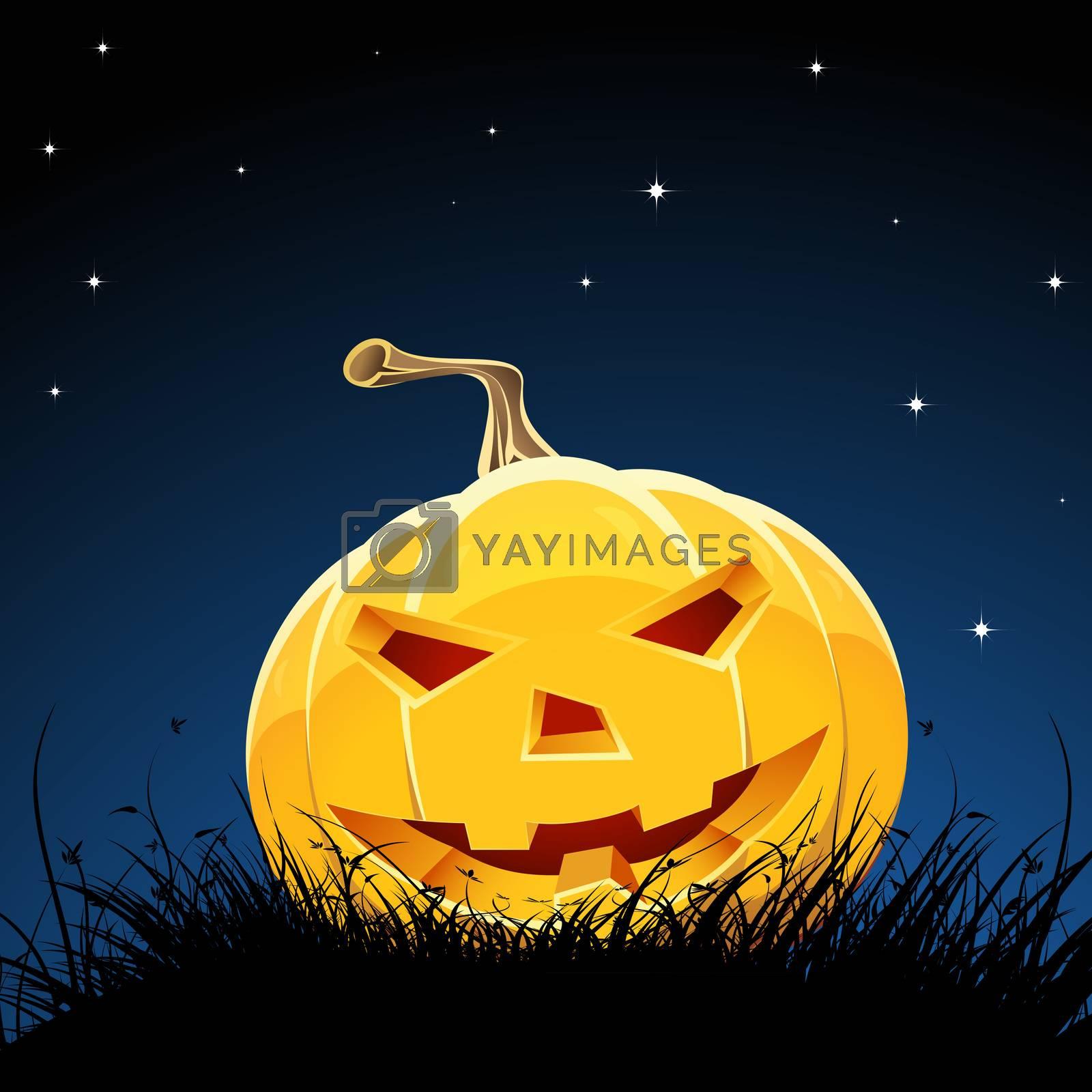 Halloween night background with pumpkin bats stars and moon