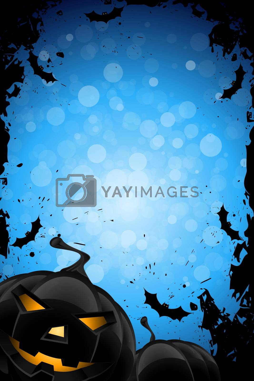 Grunge Background for Halloween Party with Pumpkins and Bats