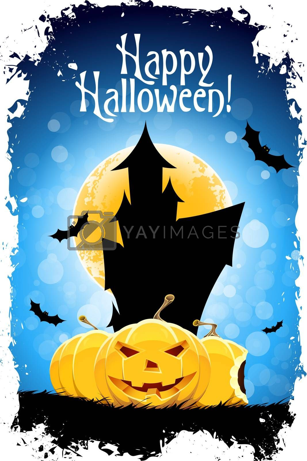 """Abstract Blue Halloween Card with Message """"Happy Halloween!"""""""