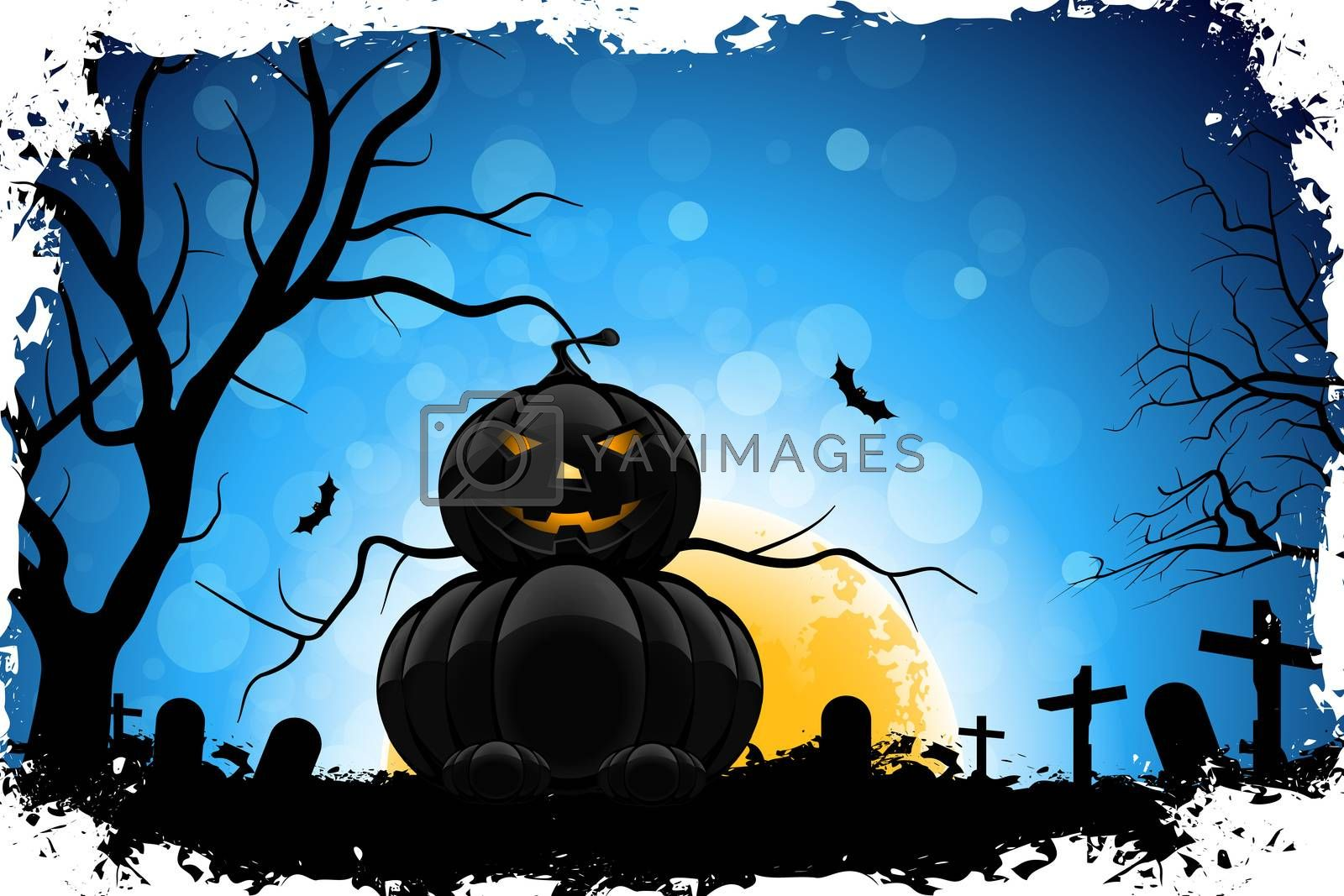 Grungy Halloween Background with Pumpkin, Tree, Grave, Cross and Full Moon