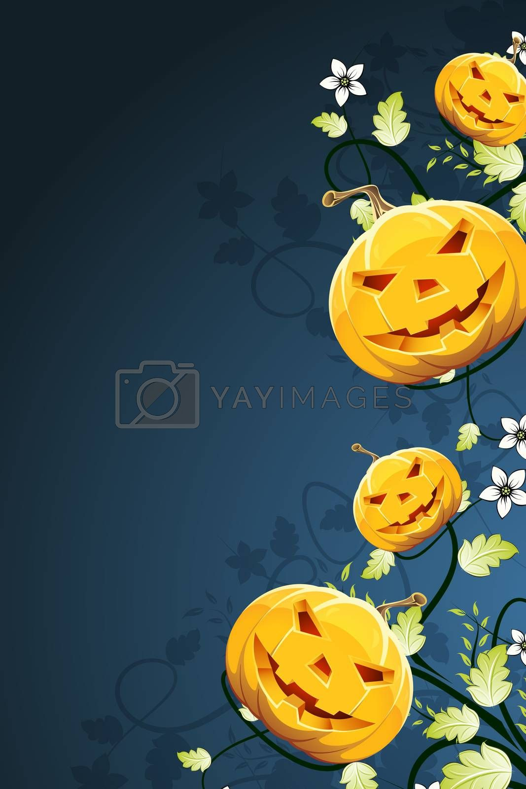 Halloween Pumpkins on Abstract Background with Flowers