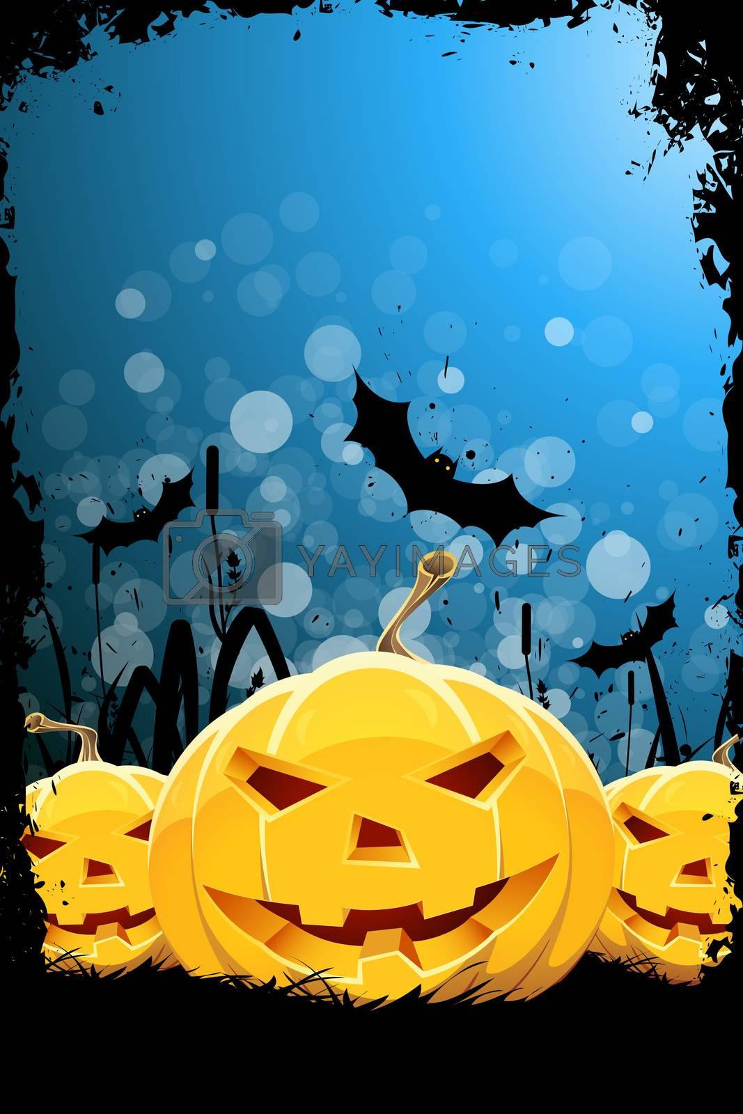 Grungy Halloween Background with Pumpkin, Bats and Grass