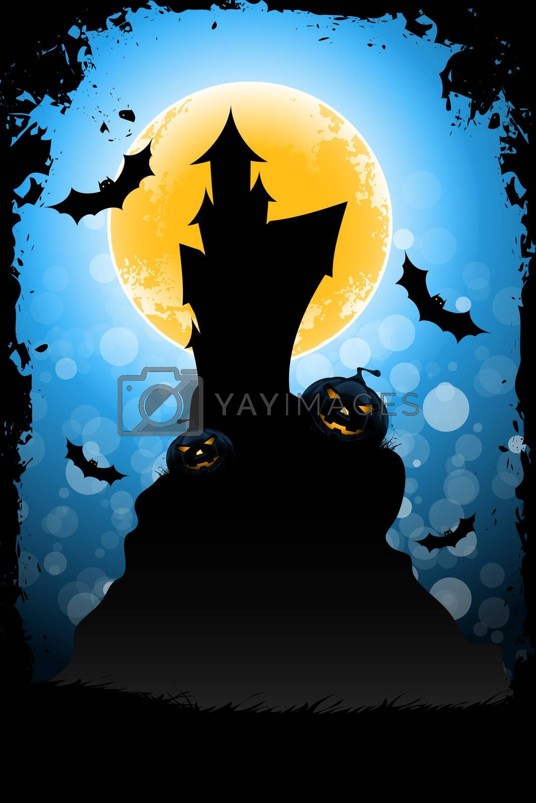Grungy Halloween Background with Pumpkin, House and Full Moon