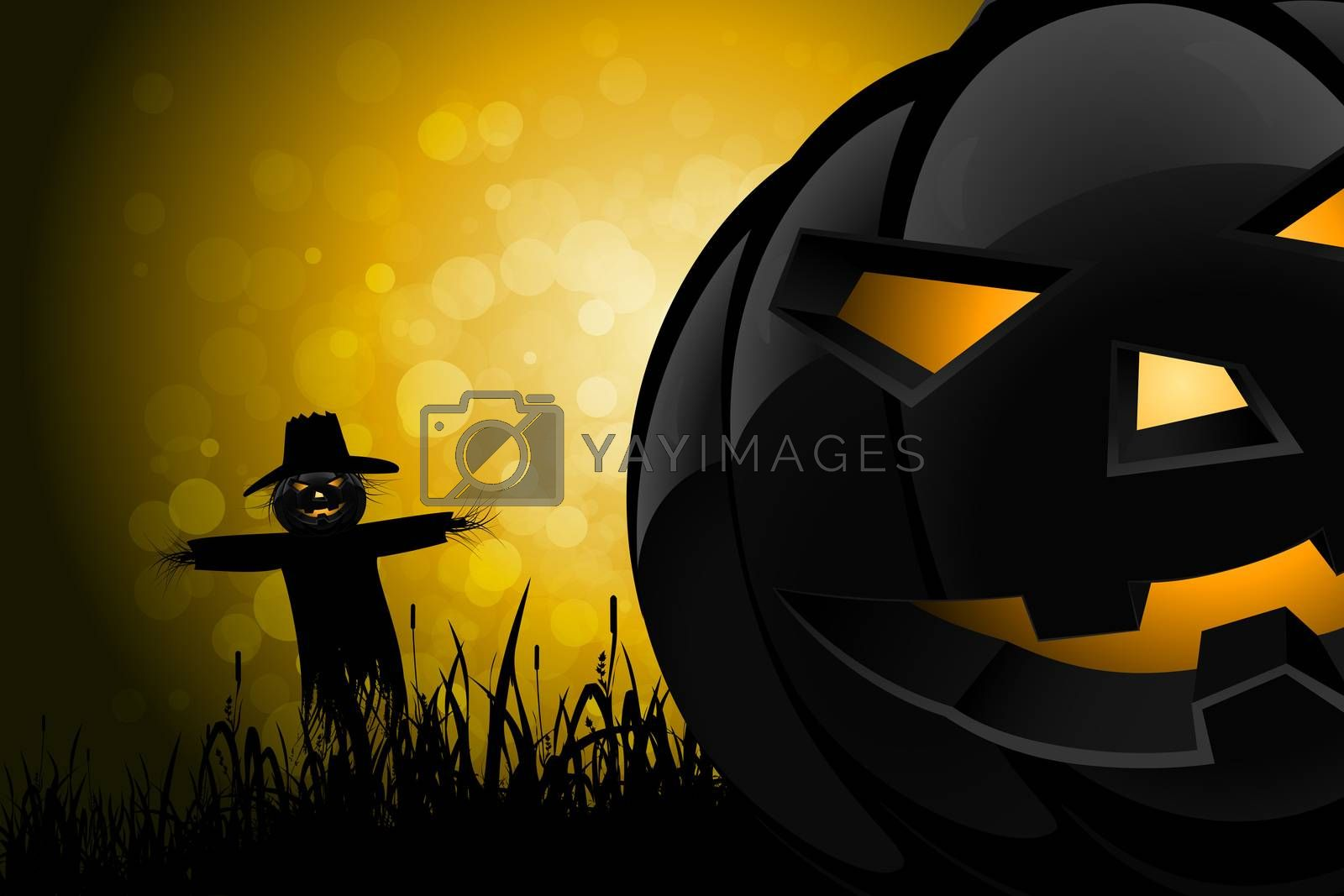 Halloween Background with Scarecrow and Pumpkin in the Grass