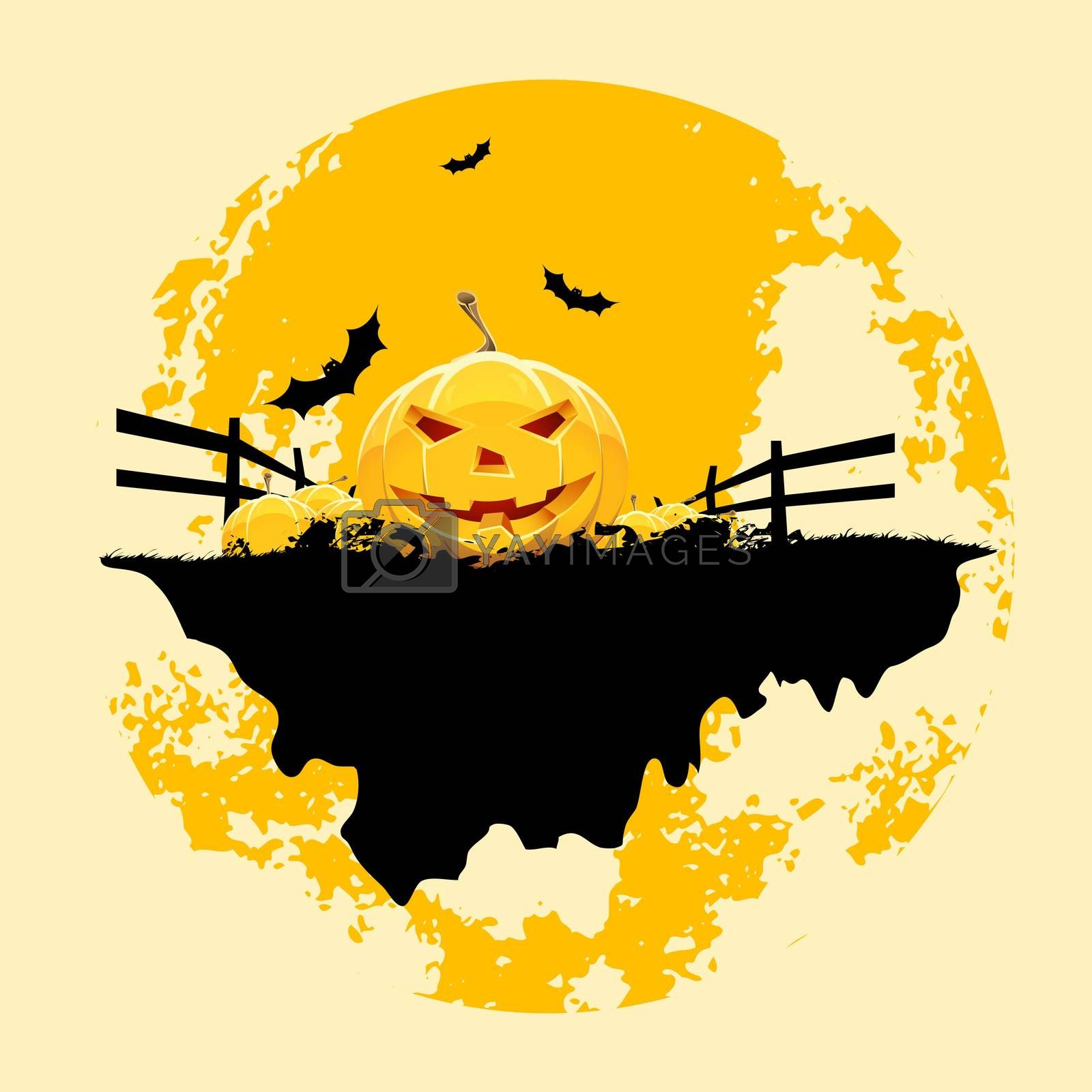 Grungy Halloween background with pumpkins and bats by WaD