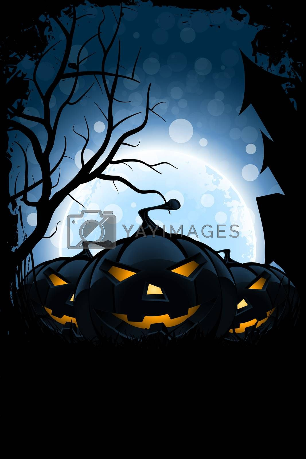 Grungy Halloween Card with Moon and Bats