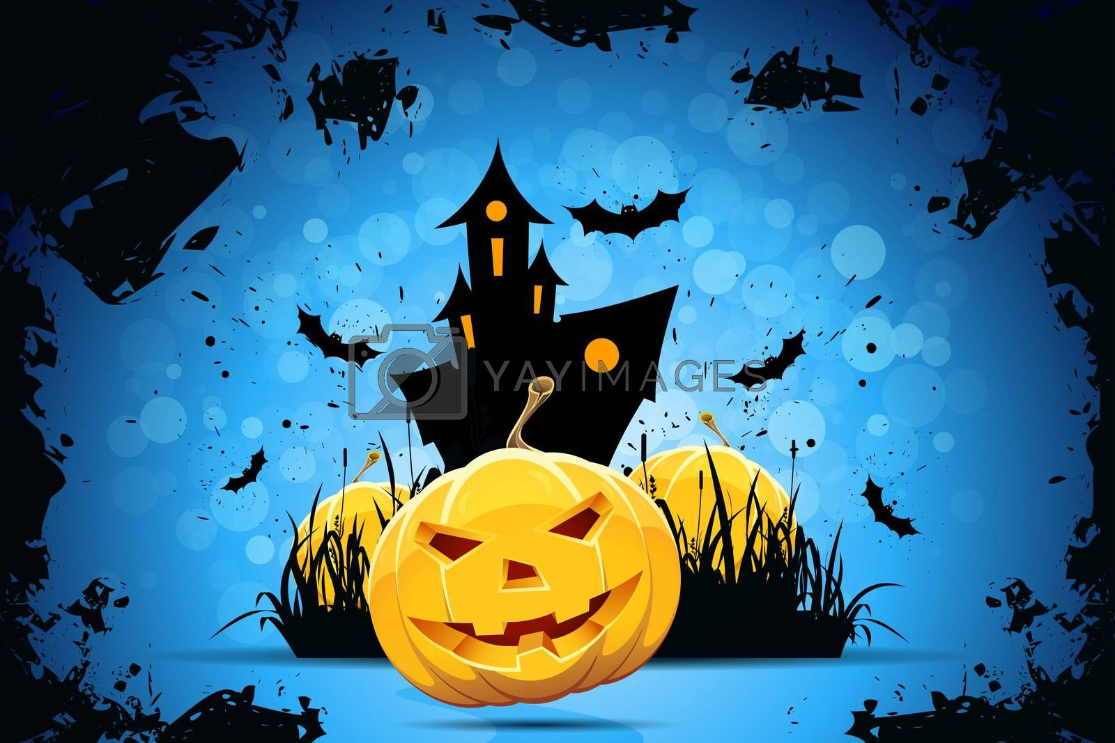 Grunge Halloween Party Background with Pampkins, House in Grass and Bats